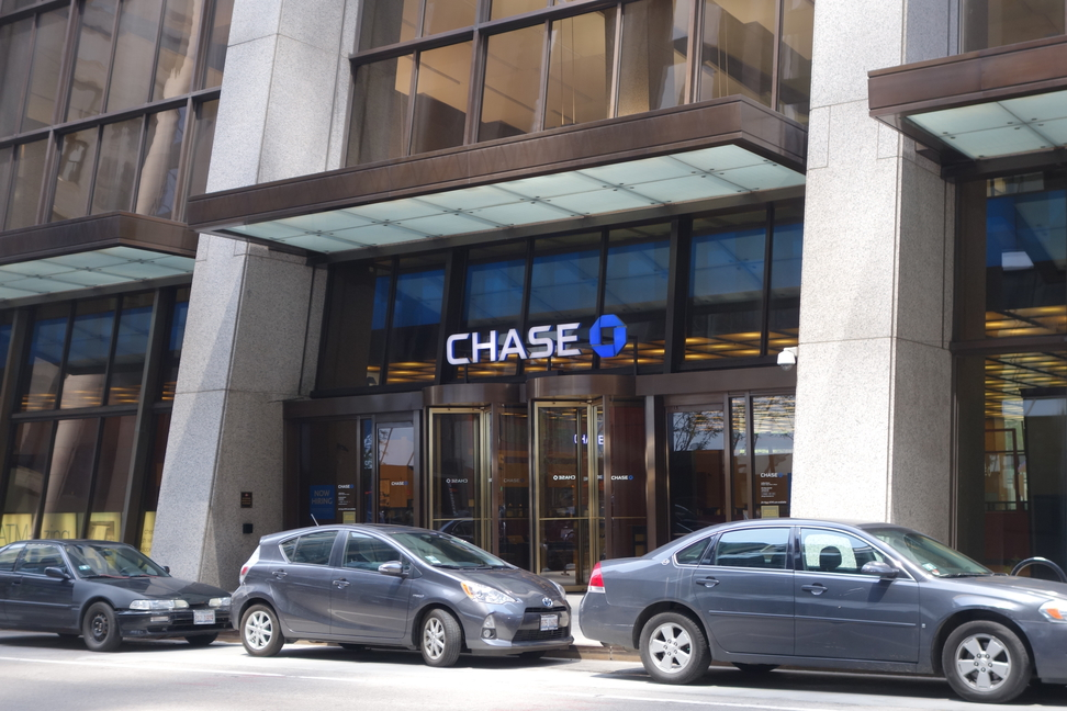 Entrance to Chase Tower in downtown Chicago, Illinois.