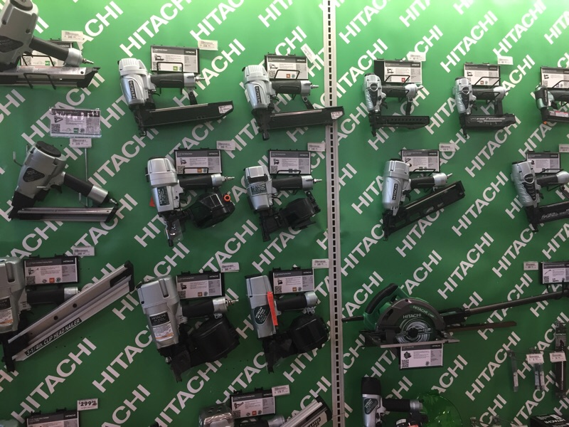 Hitachi power tools on display at an Acme Tools store.
