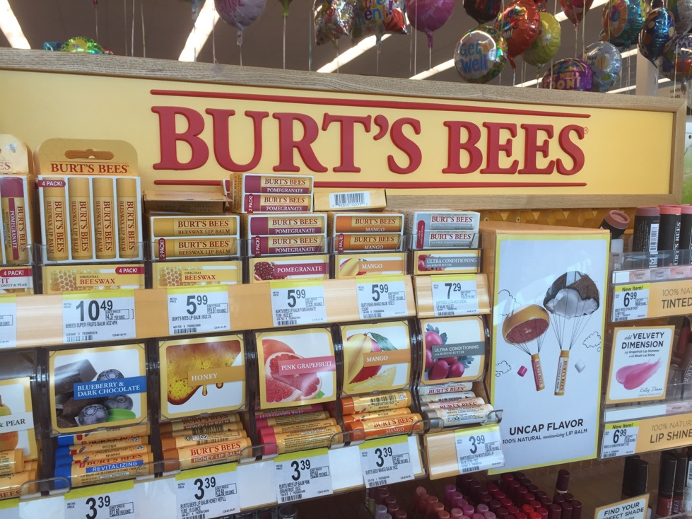 Burt's Bees product display at a Walgreens pharmacy in Duluth, Minnesota.