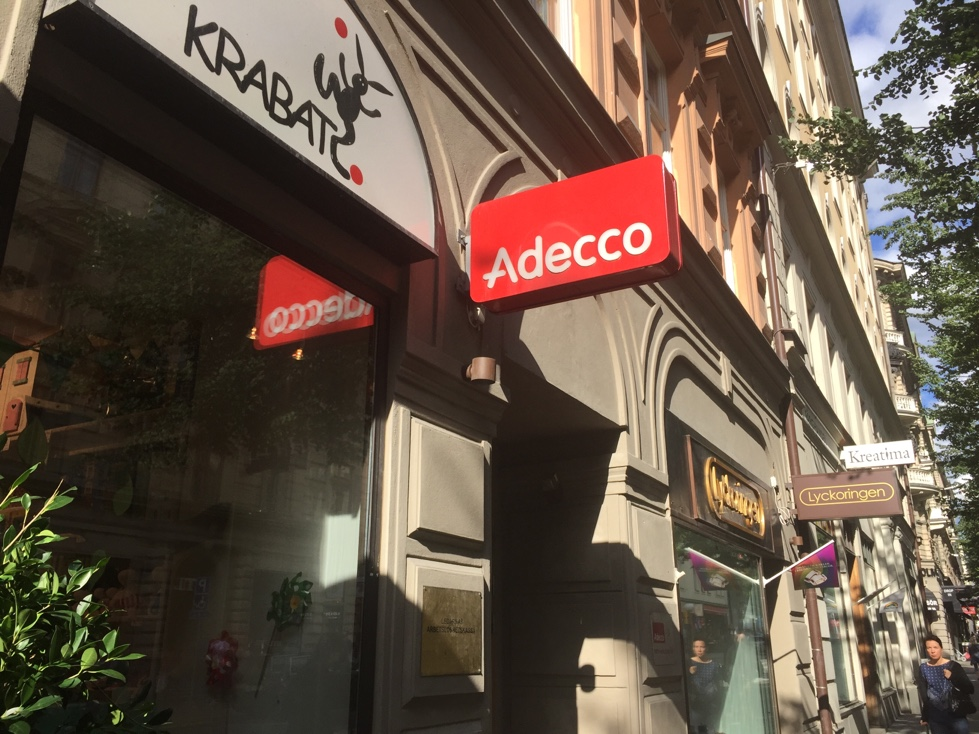Entrance to Adecco office in Stockholm, Sweden.