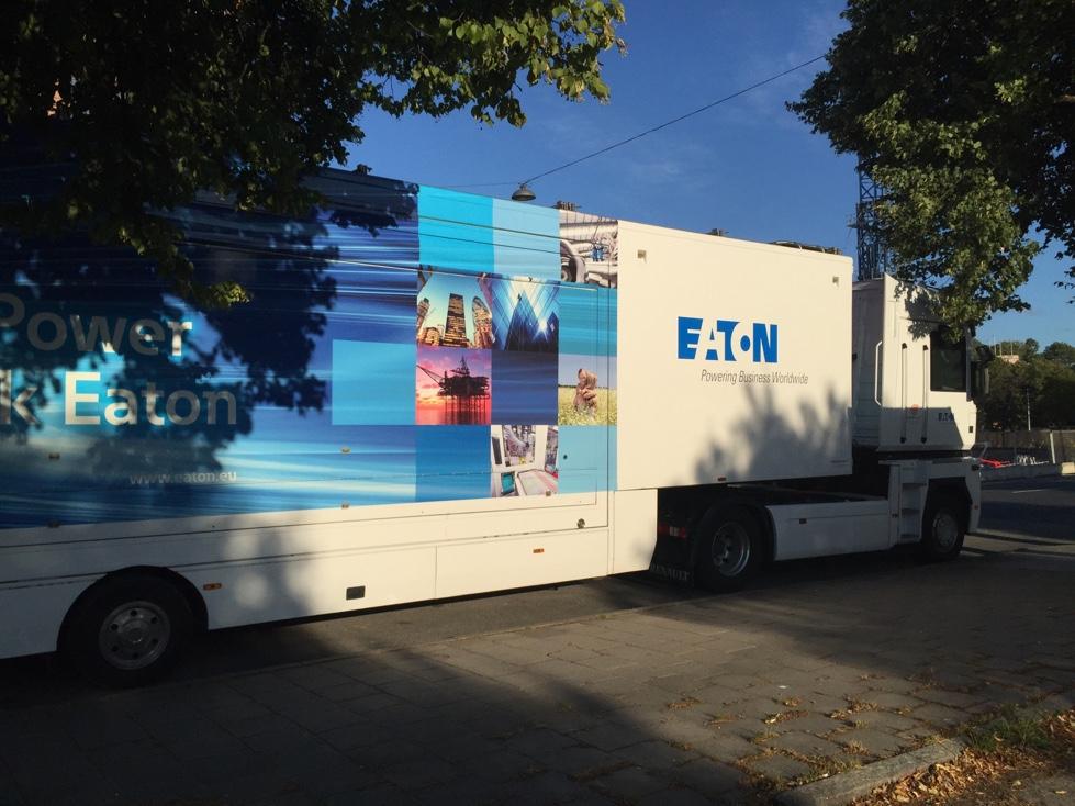 Eaton equipment trailer in Stockholm, Sweden.