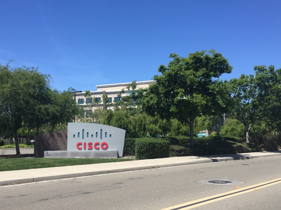 Entrance to Cisco's corporate campus in San Jose, California.