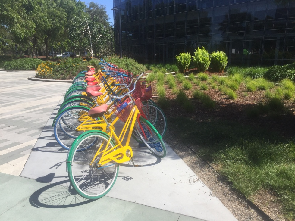 Google bikes on its campus in Mountain View, California.
