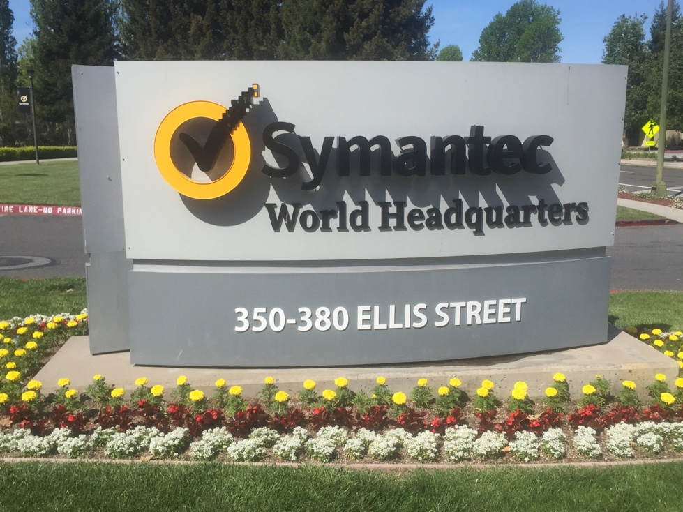 Entrance to Symantec's corporate headquarters in Mountain View, California.