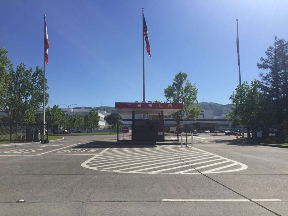 Entrance to Tesla's production and assembly facility in Fremont, California.