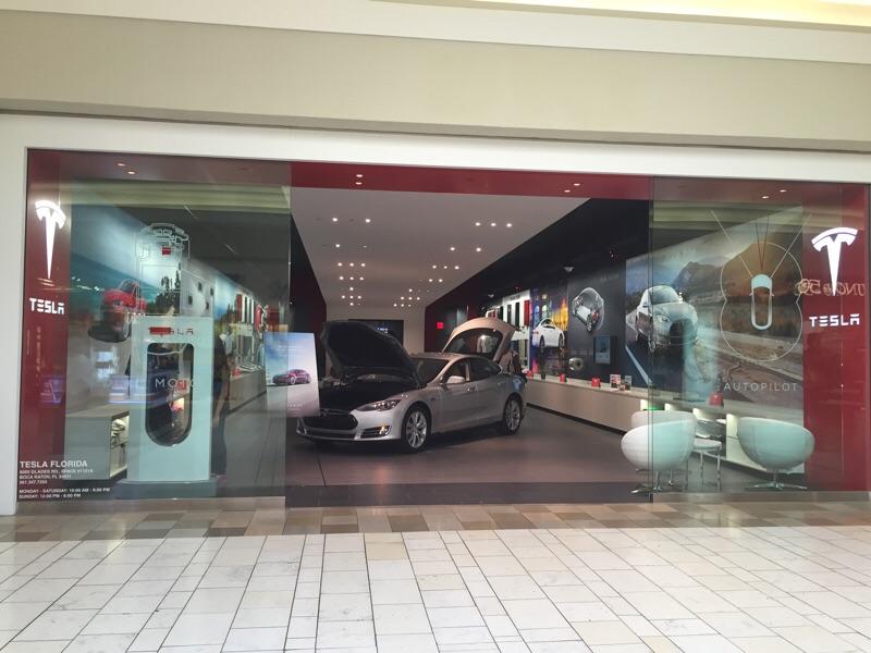 Tesla showroom in Boca Raton, Florida.