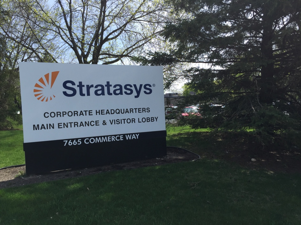 Entrance to Stratasys' corporate headquarters in Eden Praire, Minnesota.