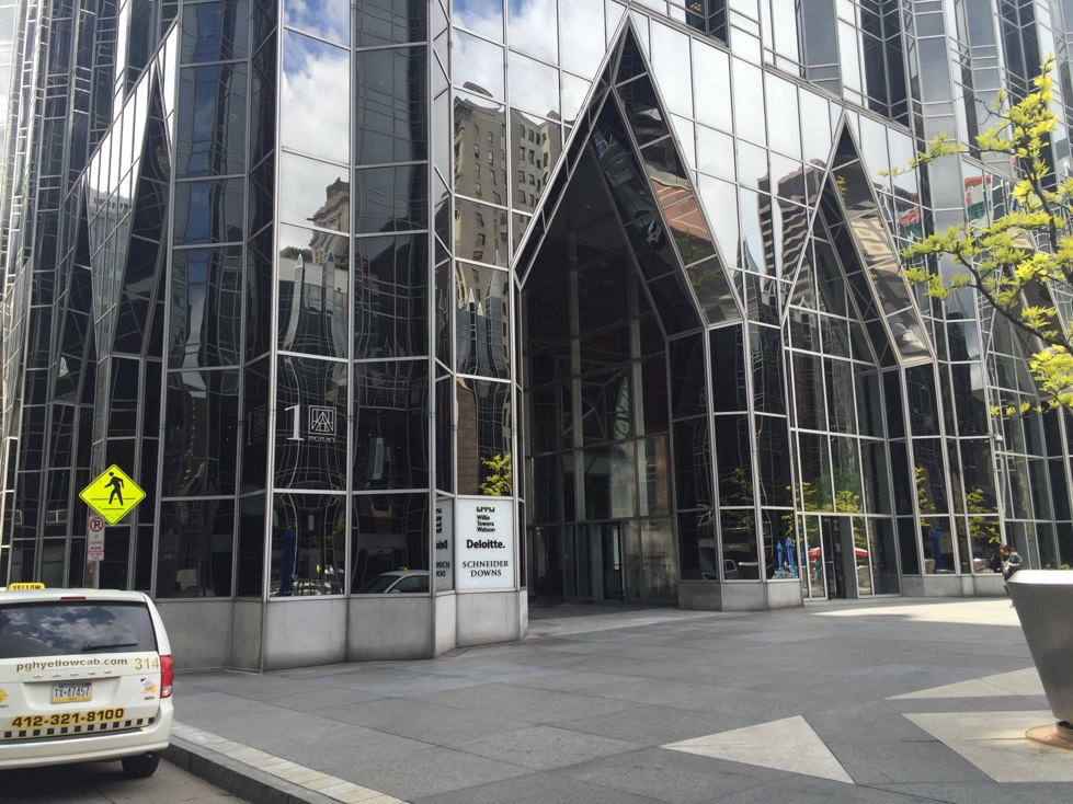 PPG headquarters at One PPG Place in downtown Pittsburgh, Pennsylvania.