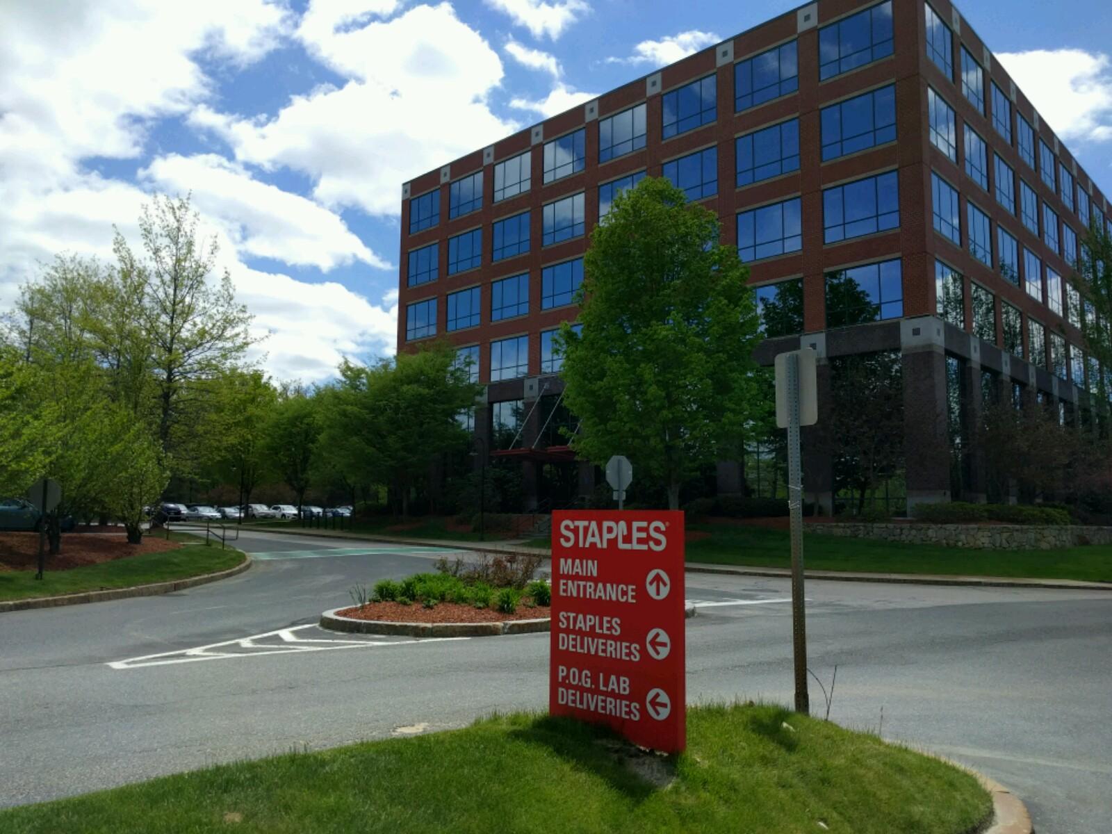 Entrance to Staples' corporate headquarters in Framingham, Massachusetts.