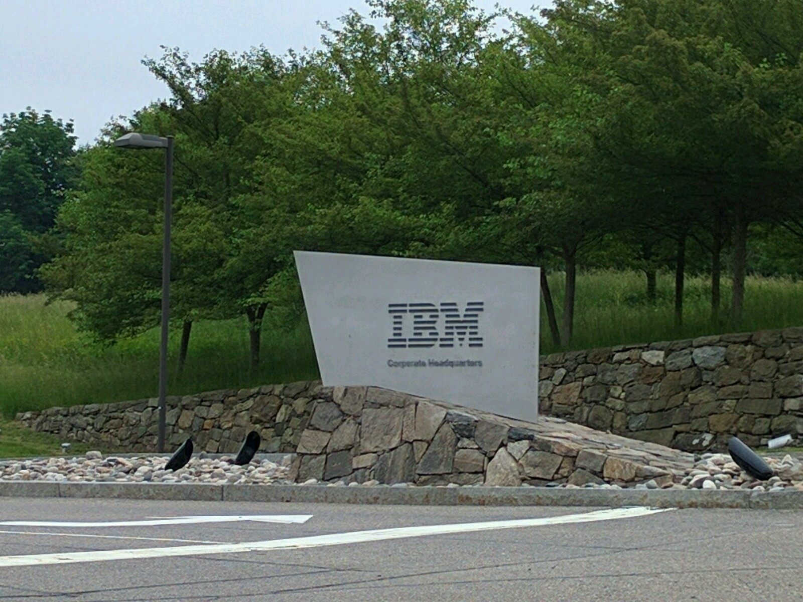 Entrance to IBM's corporate headquarters in Armonk, New York.