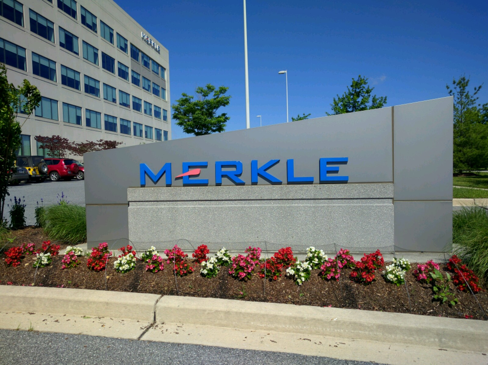 Entrance to Merkle's corporate headquarters in Columbia, Maryland.