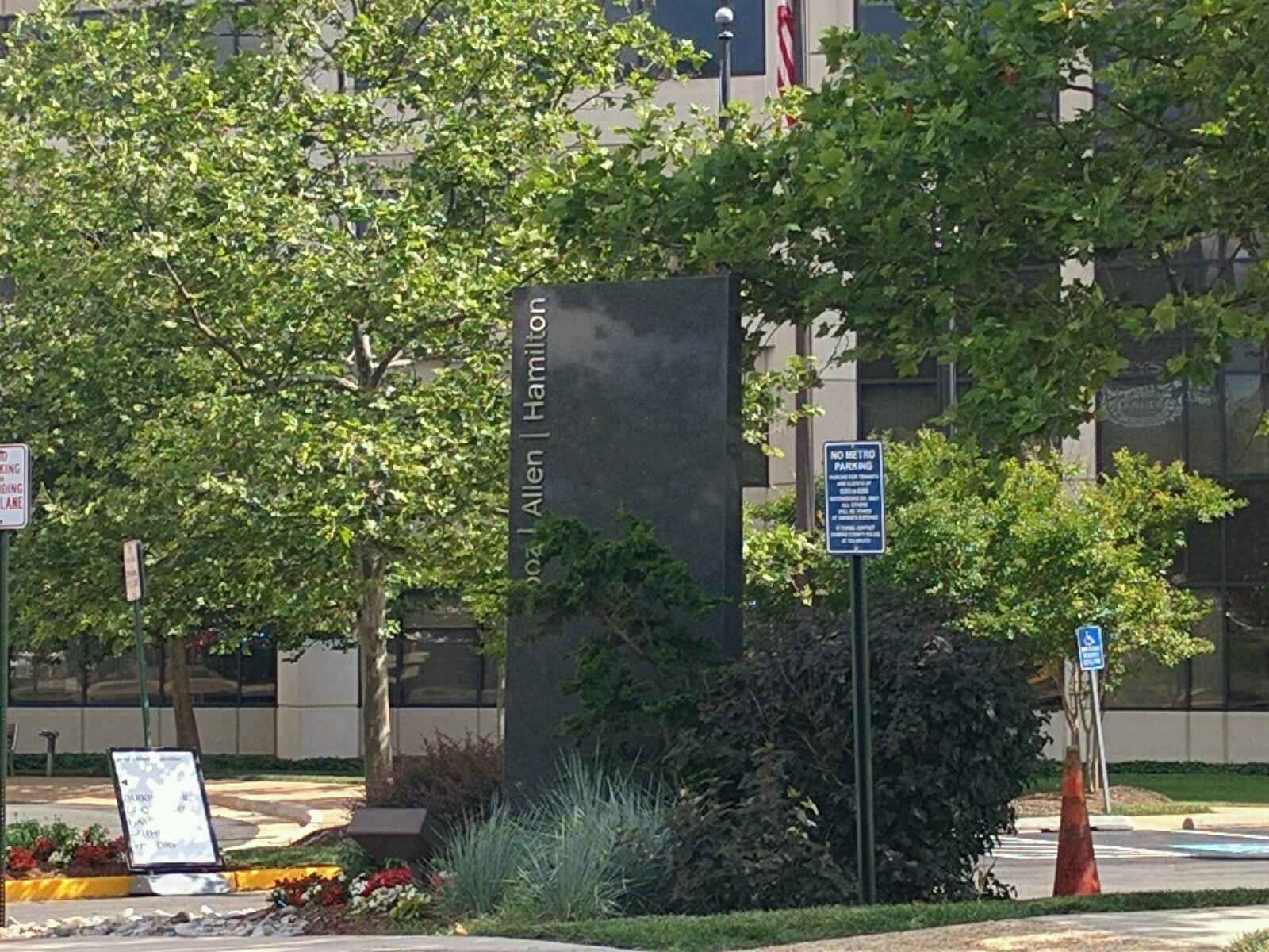 Entrance to Booz Allen Hamilton's corporate headquarters in McLean, Virginia.