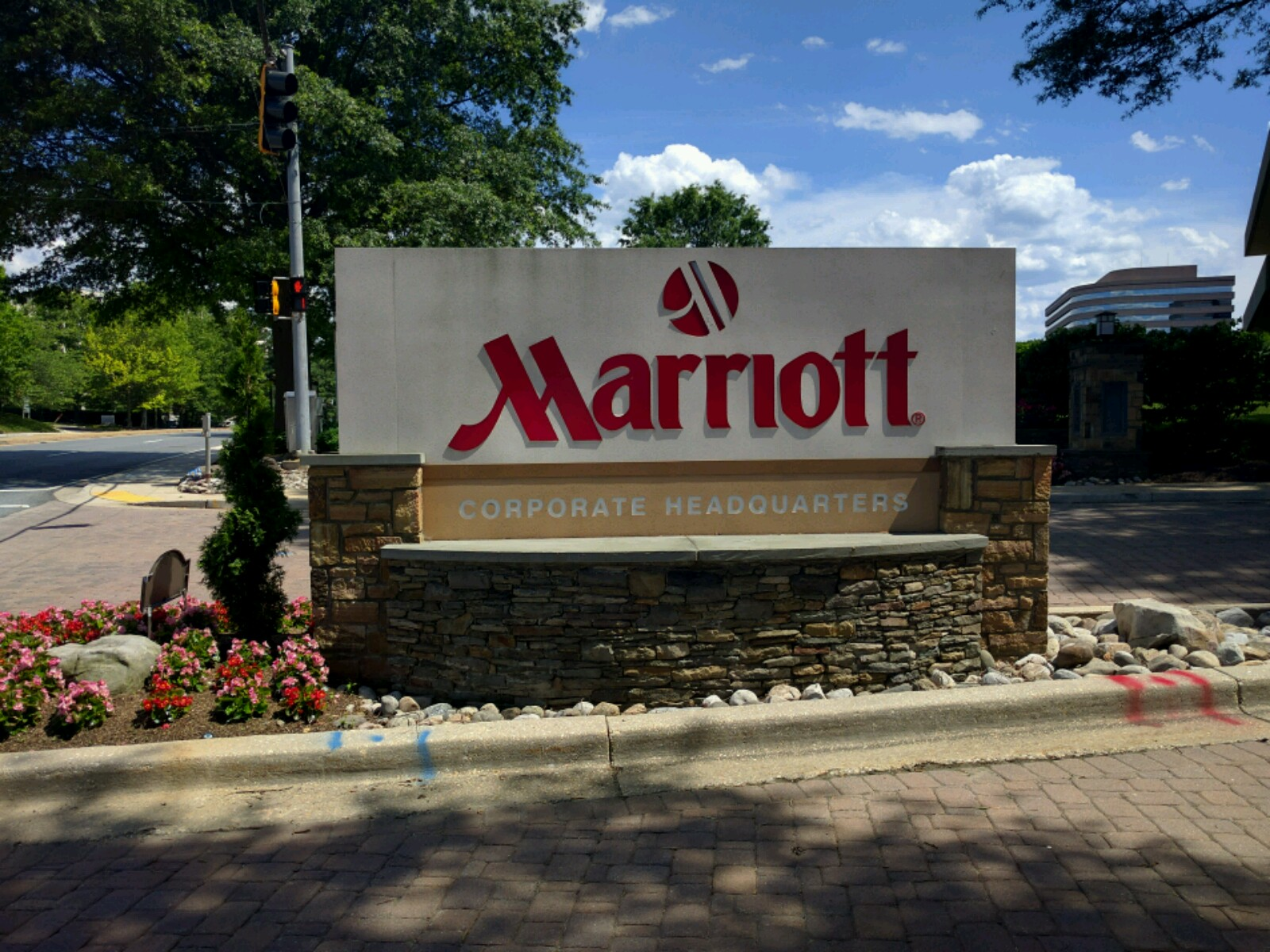 Entrance to Marriott's corporate headquarters in Bethesda, Maryland.