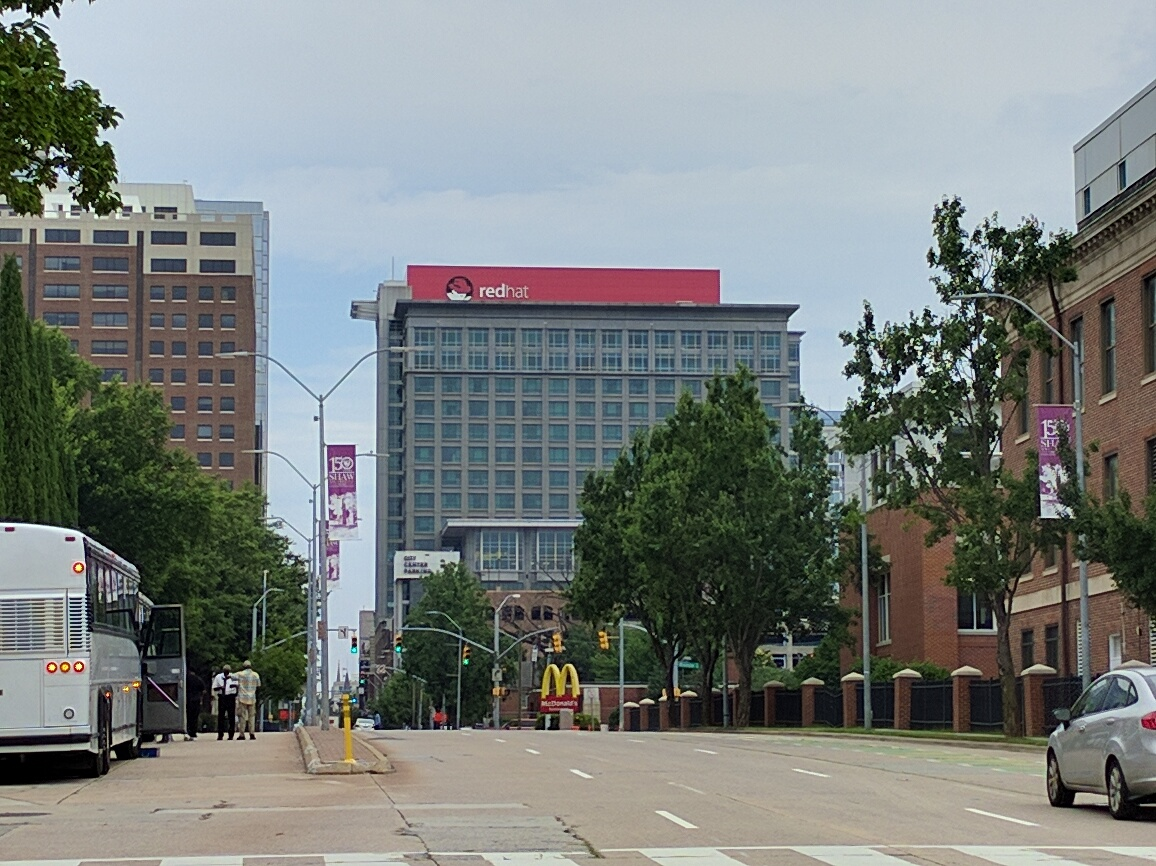 View of Red Hat's corporate headquarters in Raleigh, North Carolina.
