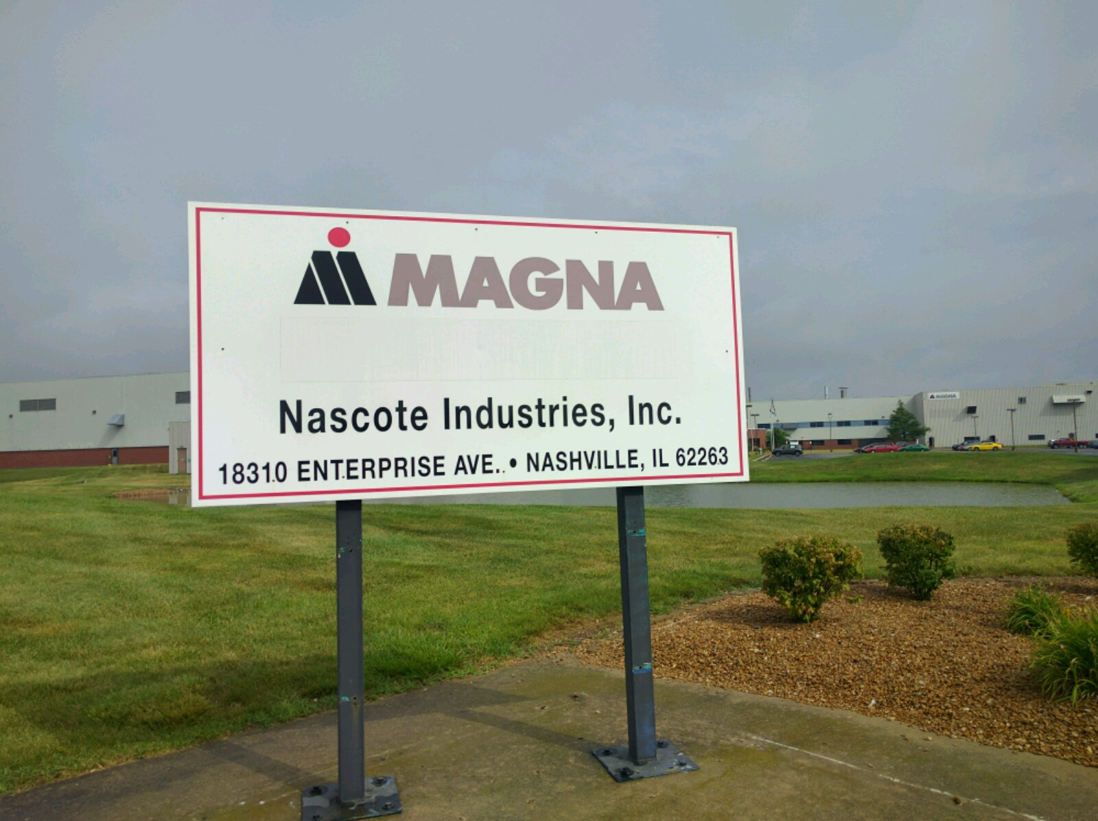 Entrance to a Magna International production facility in Nashville, Illinois.