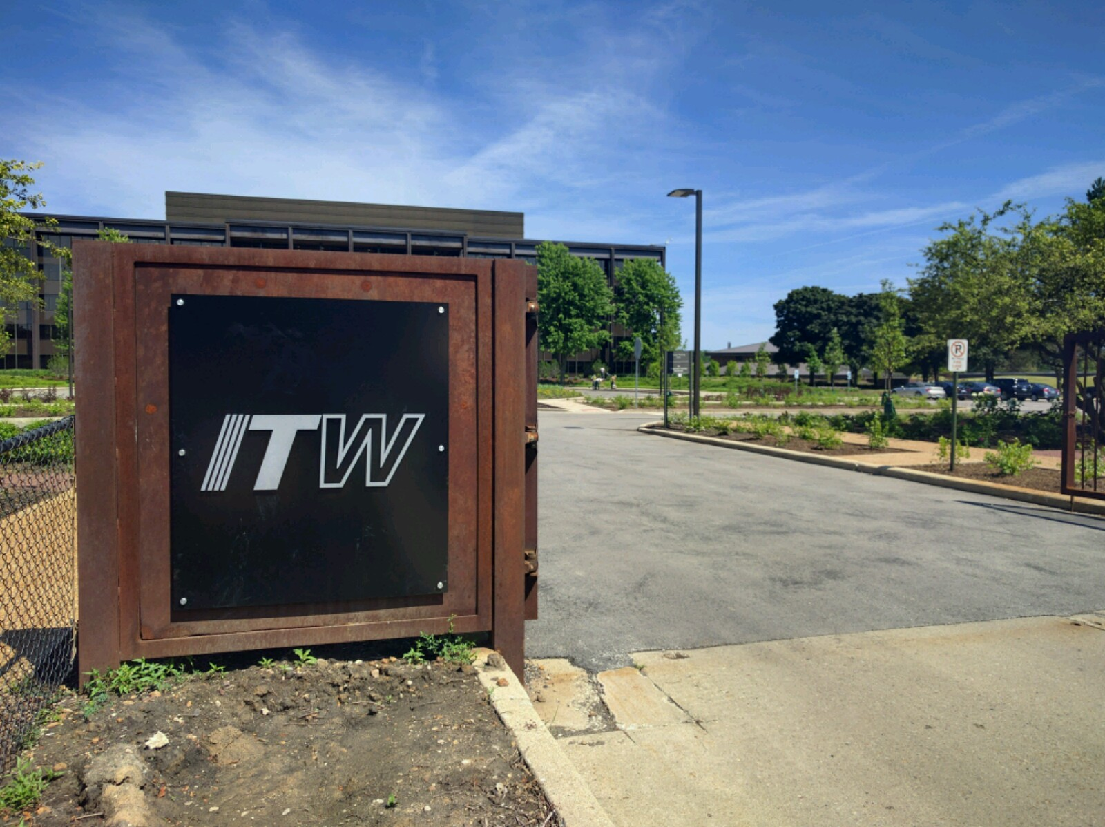 Entrance to Illinois Tool Works' corporate headquarters in Glenview, Illinois.