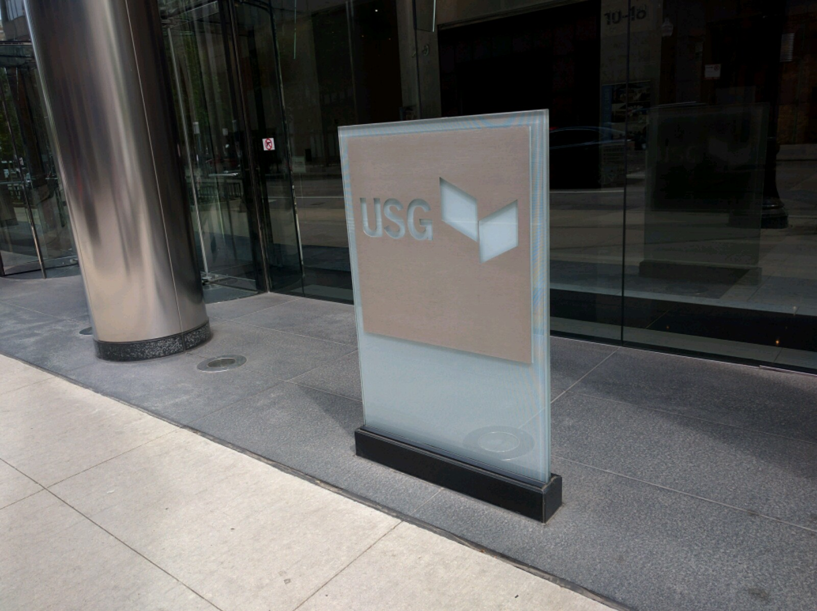 Entrance to USG's corporate headquarters in downtown Chicago, Illinois.