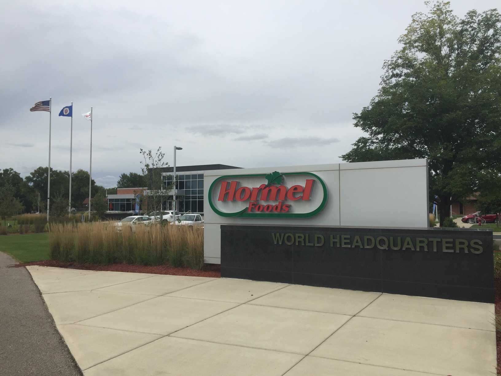 Entrance to Hormel Foods' corporate headquarters in Austin, Minnesota.