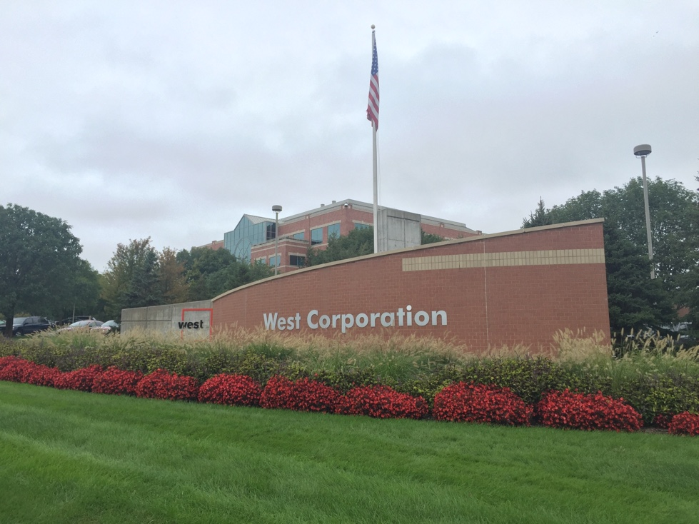Entrance to West Corporation's corporate headquarters in Omaha, Nebraska.