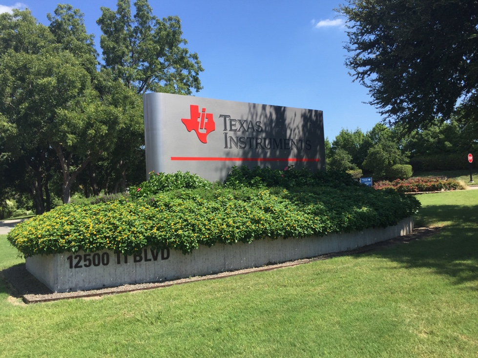 Entrance to Texas Instruments' corporate headquarters in Dallas, Texas.