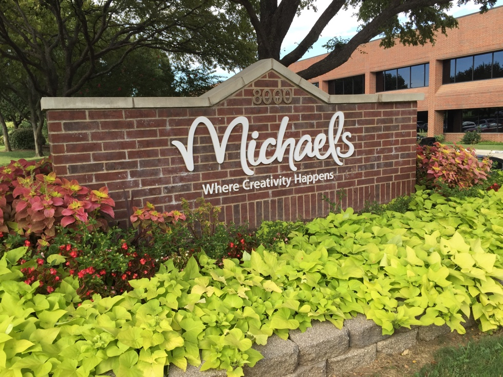 Entrance to Michaels' corporate headquarters in Irving, Texas.