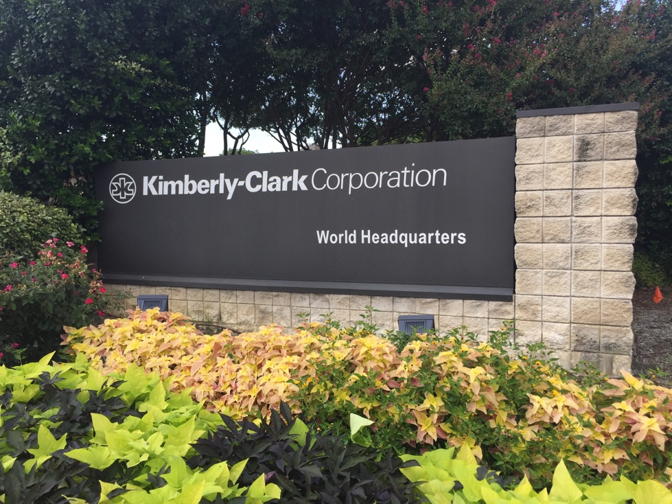 Entrance to Kimberly-Clark's corporate headquarters in Dallas, Texas.