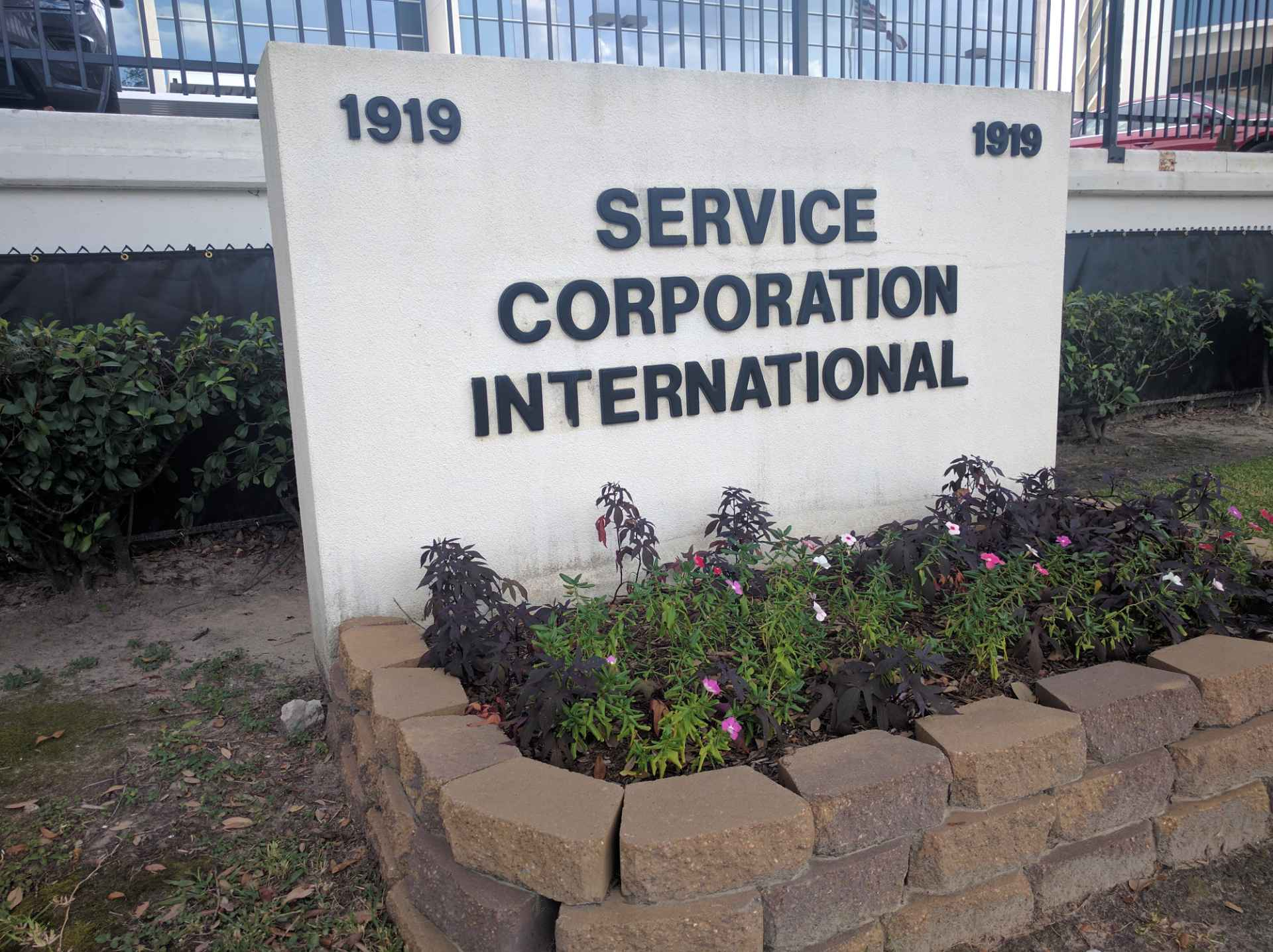 Entrance to Service Corporation International's corporate headquarters in Houston, Texas.