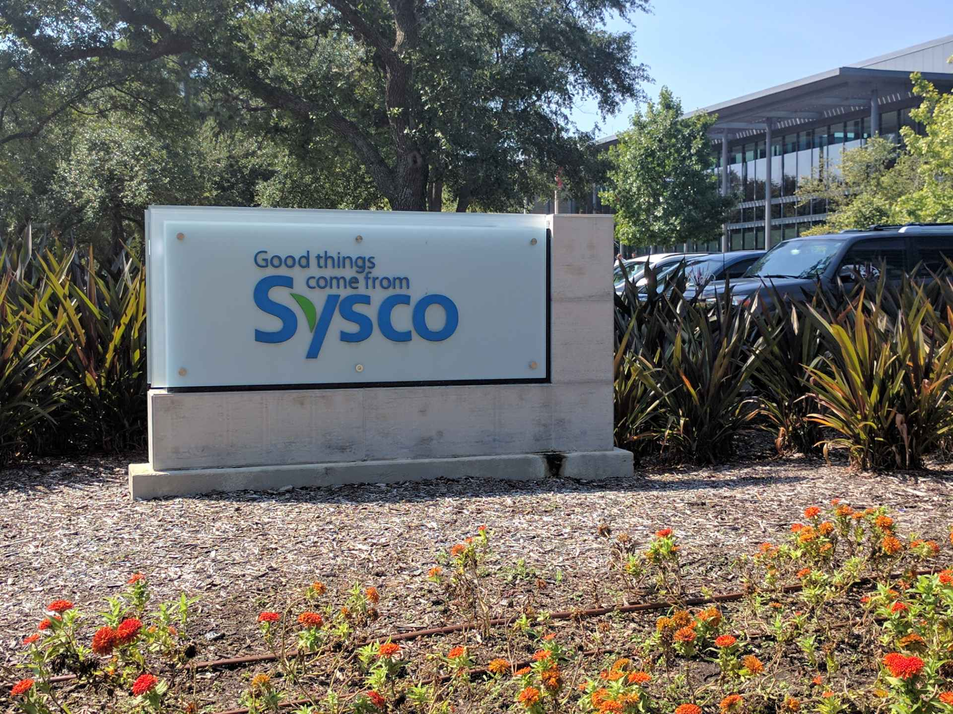 Entrance to Sysco's corporate headquarters in Houston, Texas.