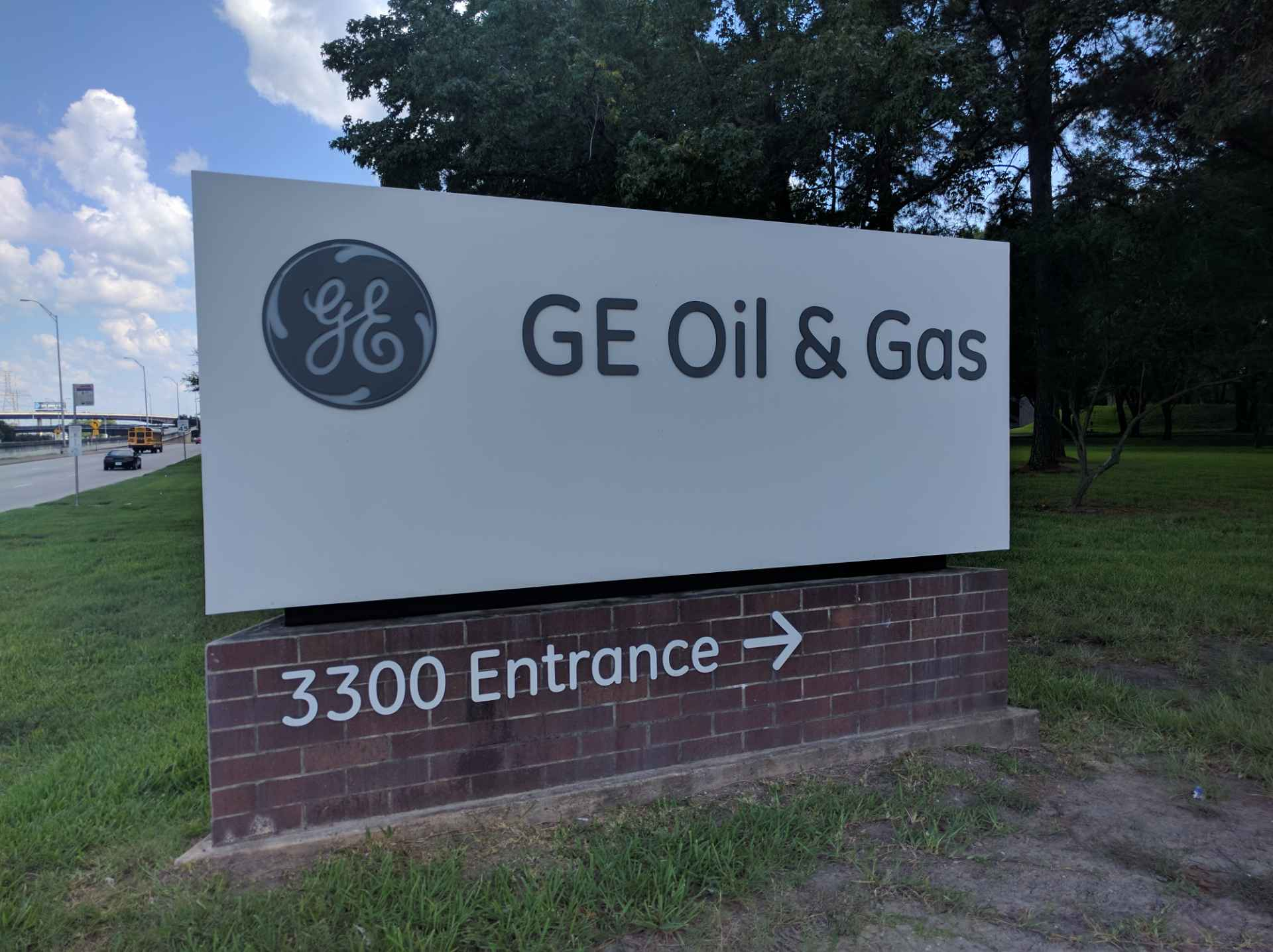 Entrance to GE Oil & Gas' corporate headquarters in Houston, Texas.