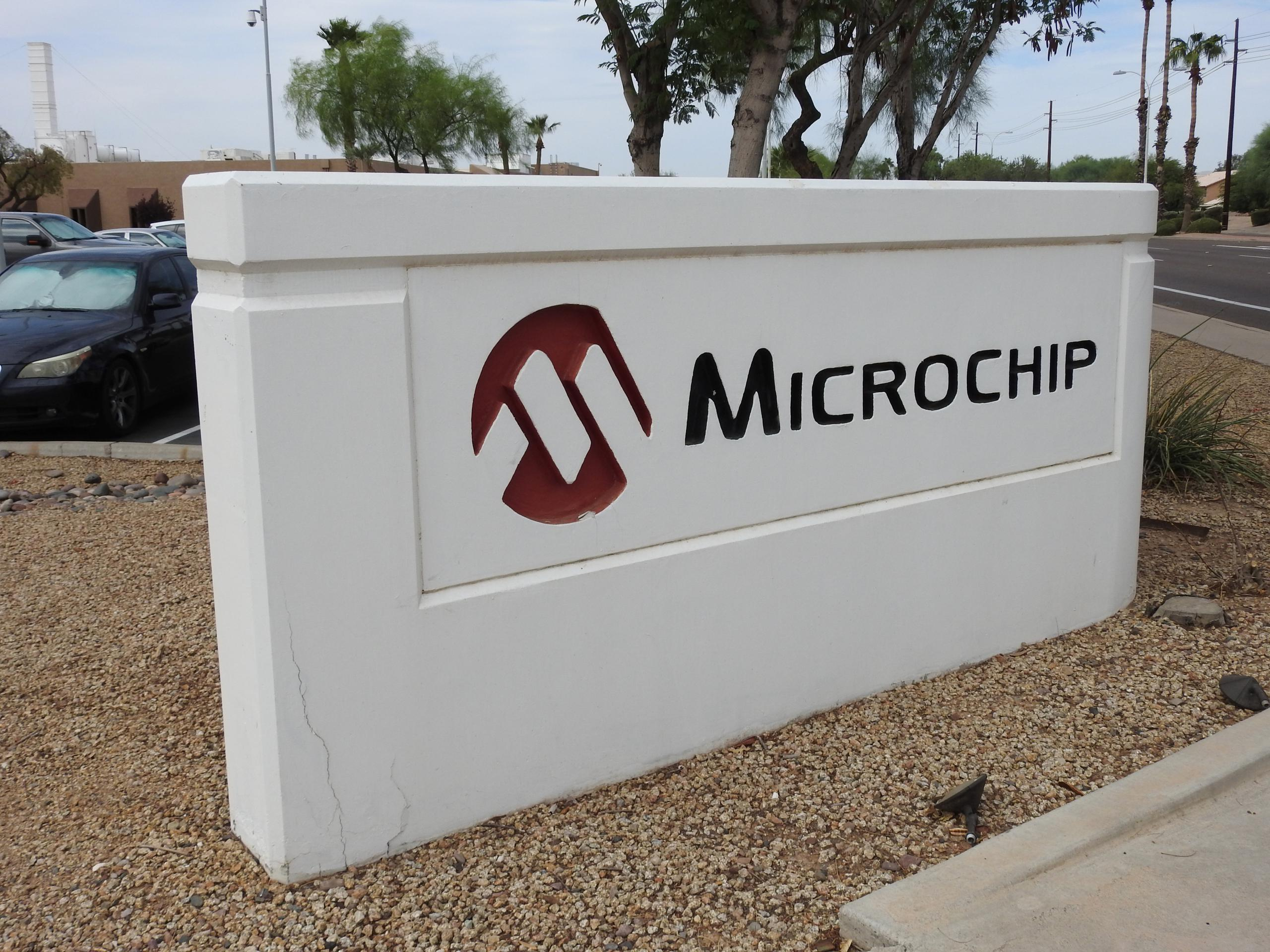 Entrance to Microchip's corporate headquarters in Chandler, Arizona.