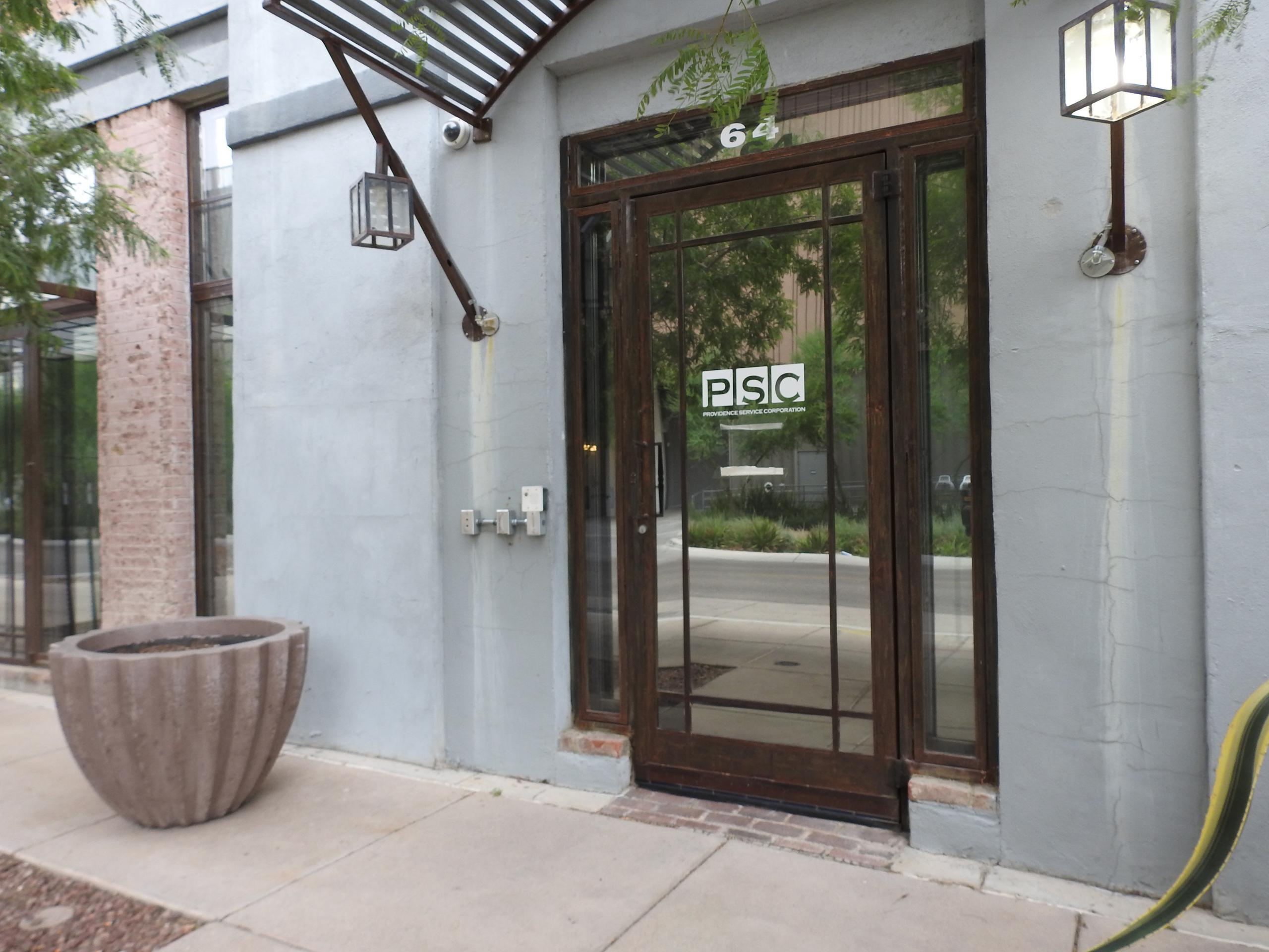 Entrance to Providence Service's corporate headquarters in Tucson, Arizona.