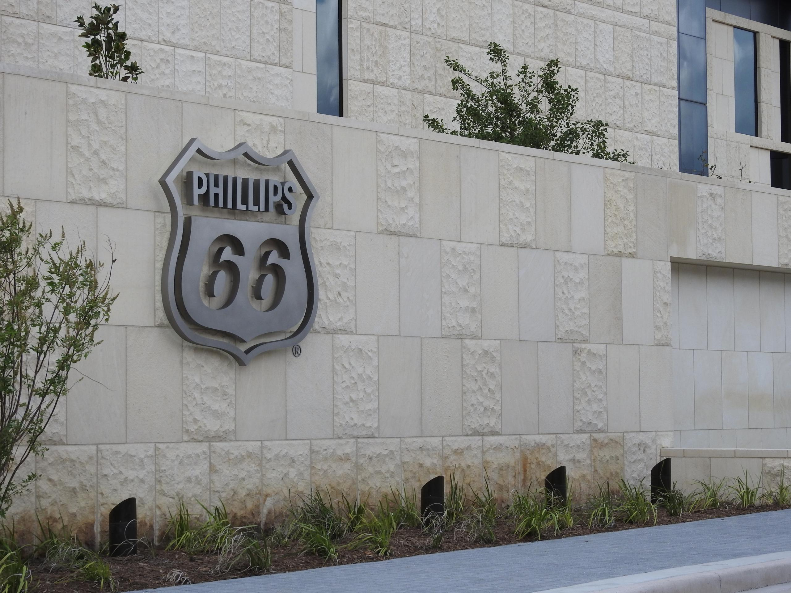 Entrance to Phillips 66's corporate headquarters in Houston, Texas.