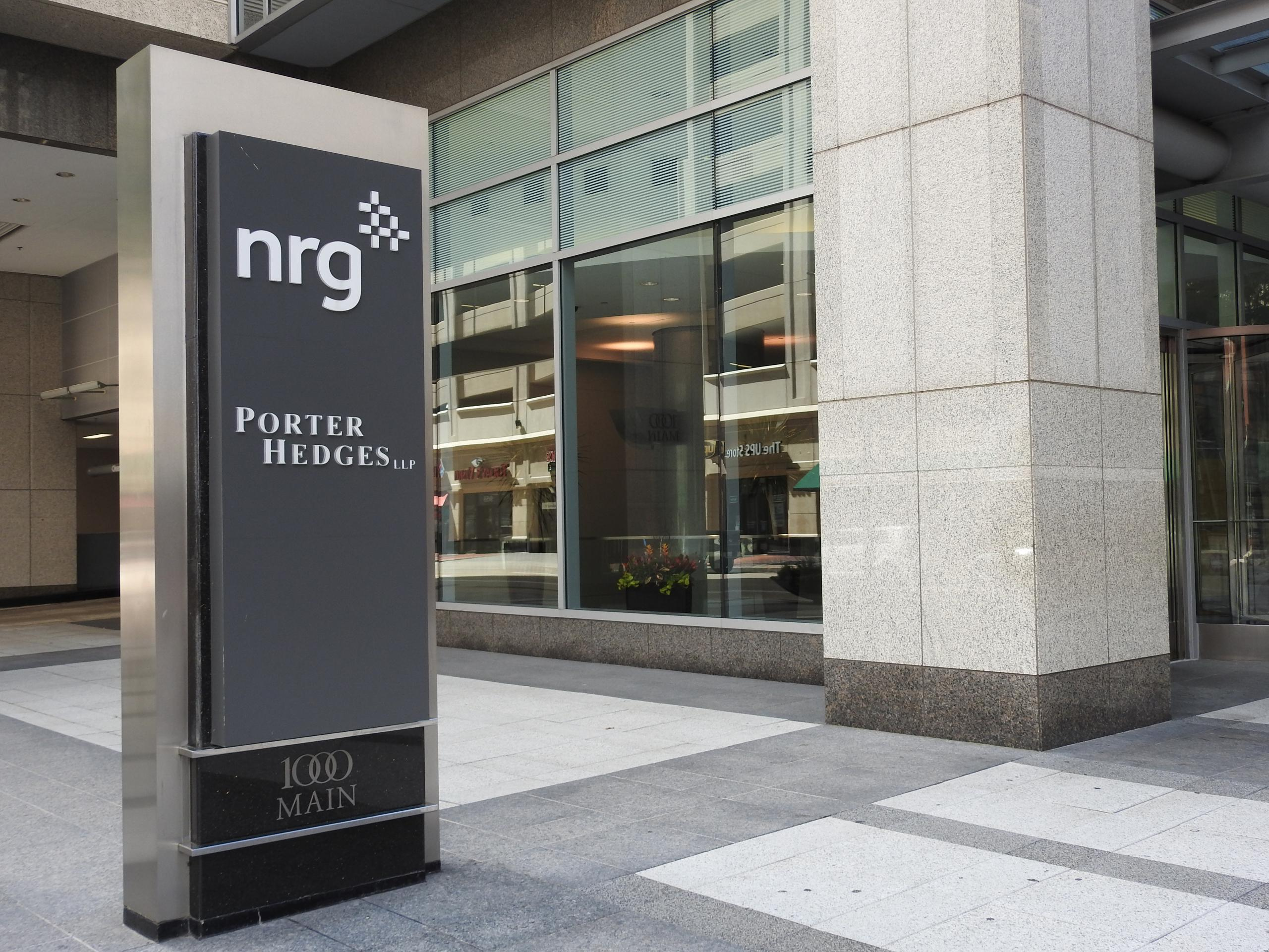 Entrance to an NRG office in downtown Houston, Texas.