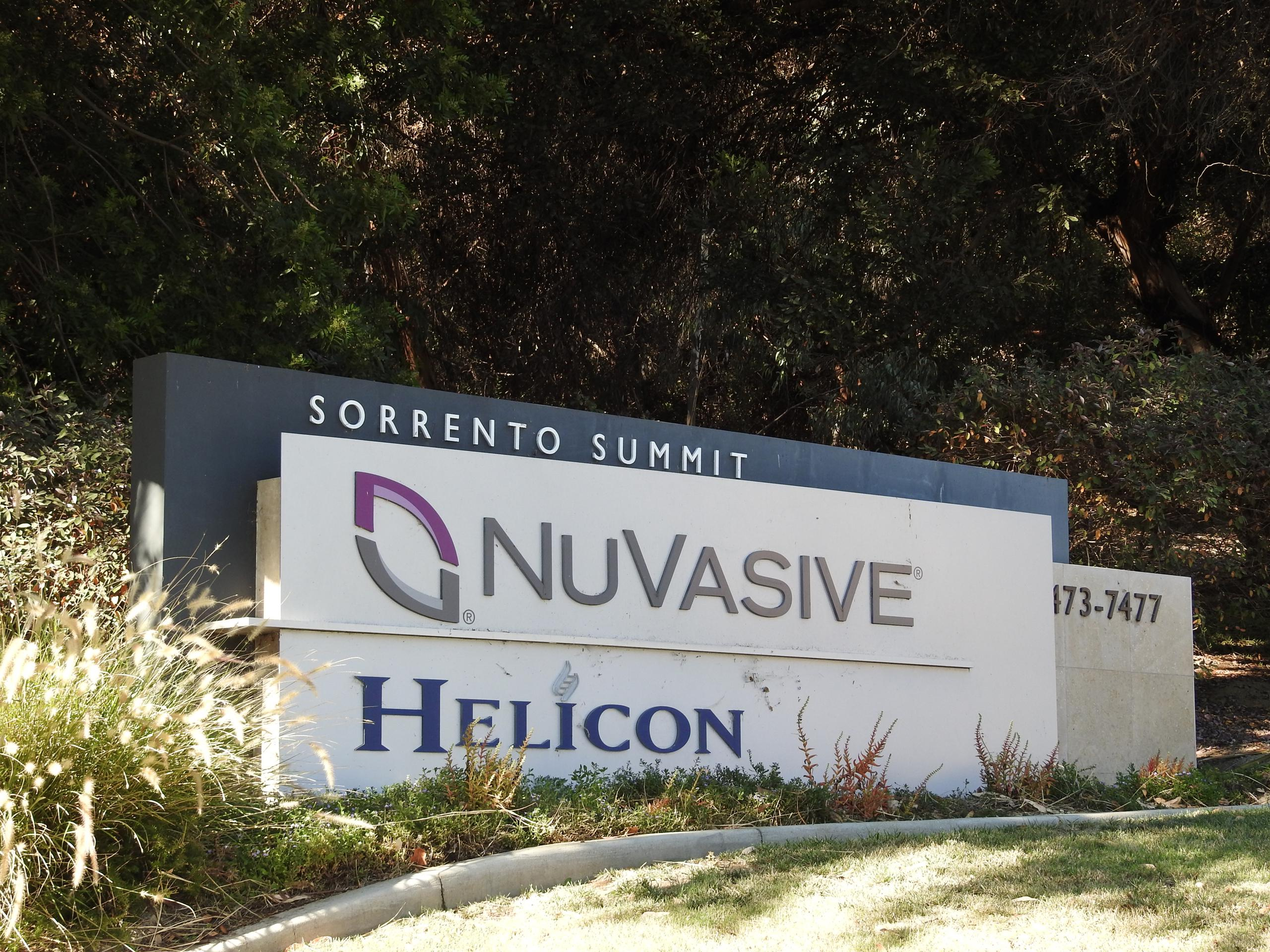 Entrance to NuVasive's corporate headquarters in San Diego, California.
