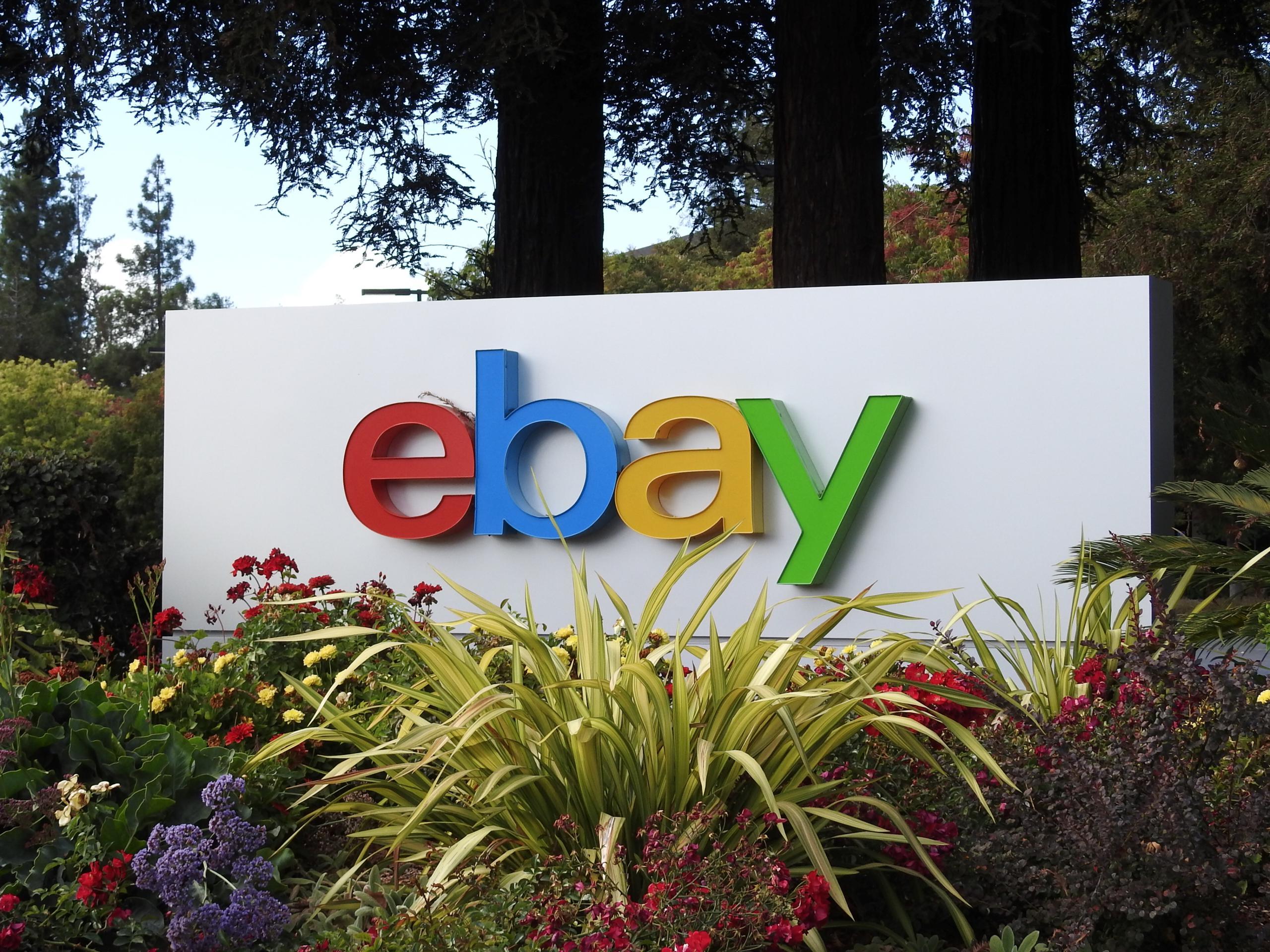 Entrance to eBay's corporate headquarters in San Jose, California.