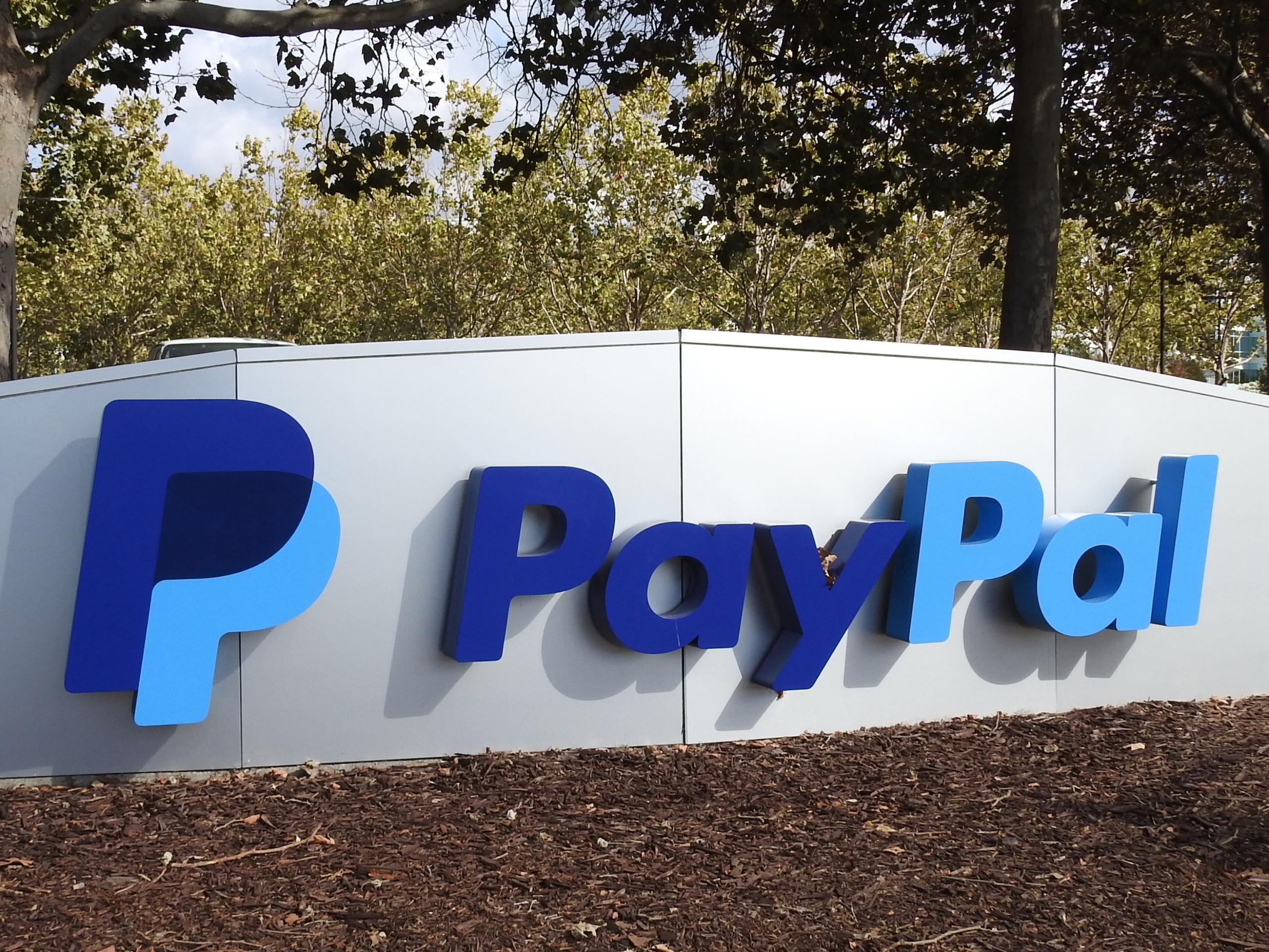 Entrance to PayPal's corporate headquarters in San Jose, California.