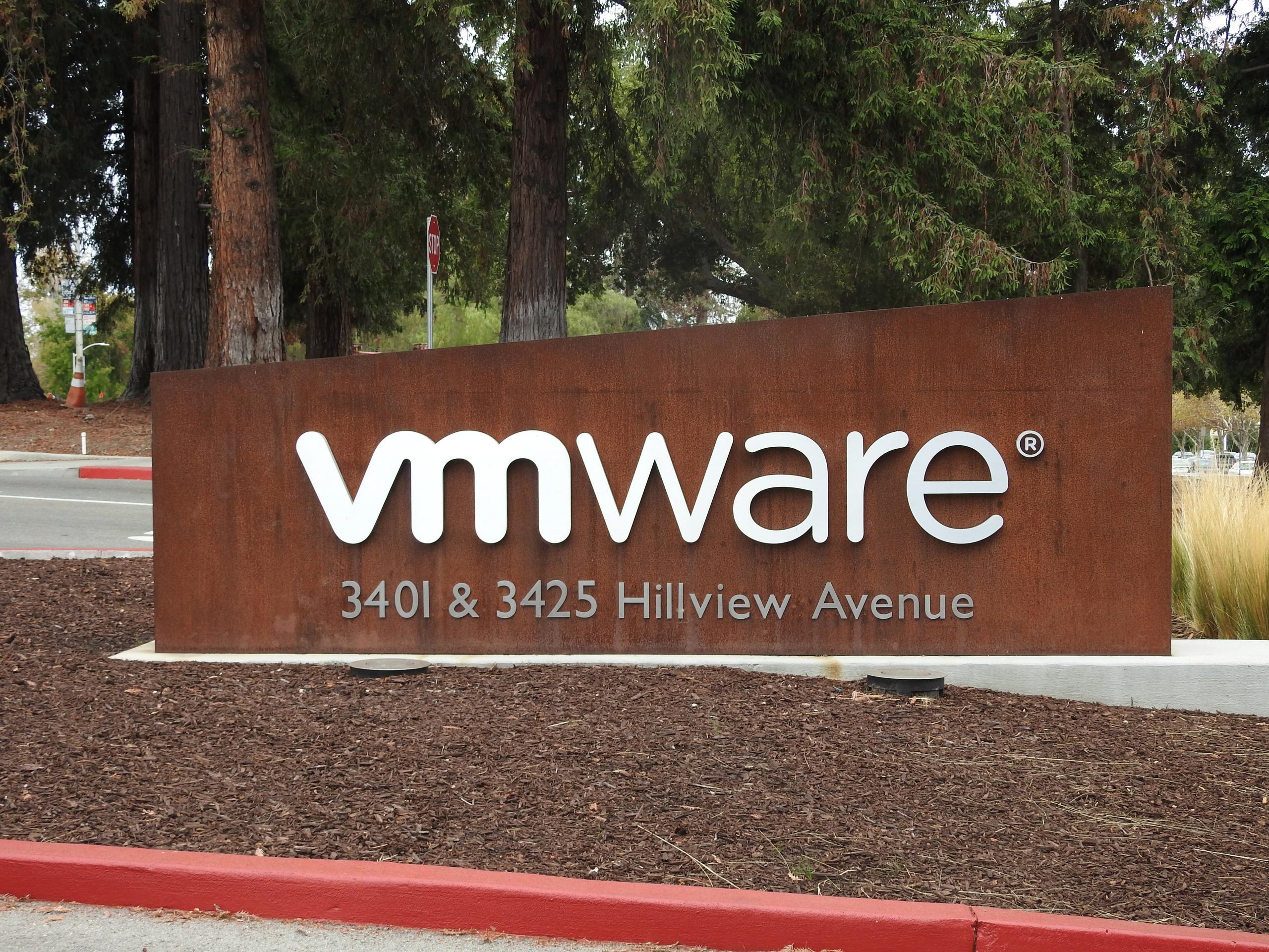 Entrance to VMware's corporate headquarters in Palo Alto, California.