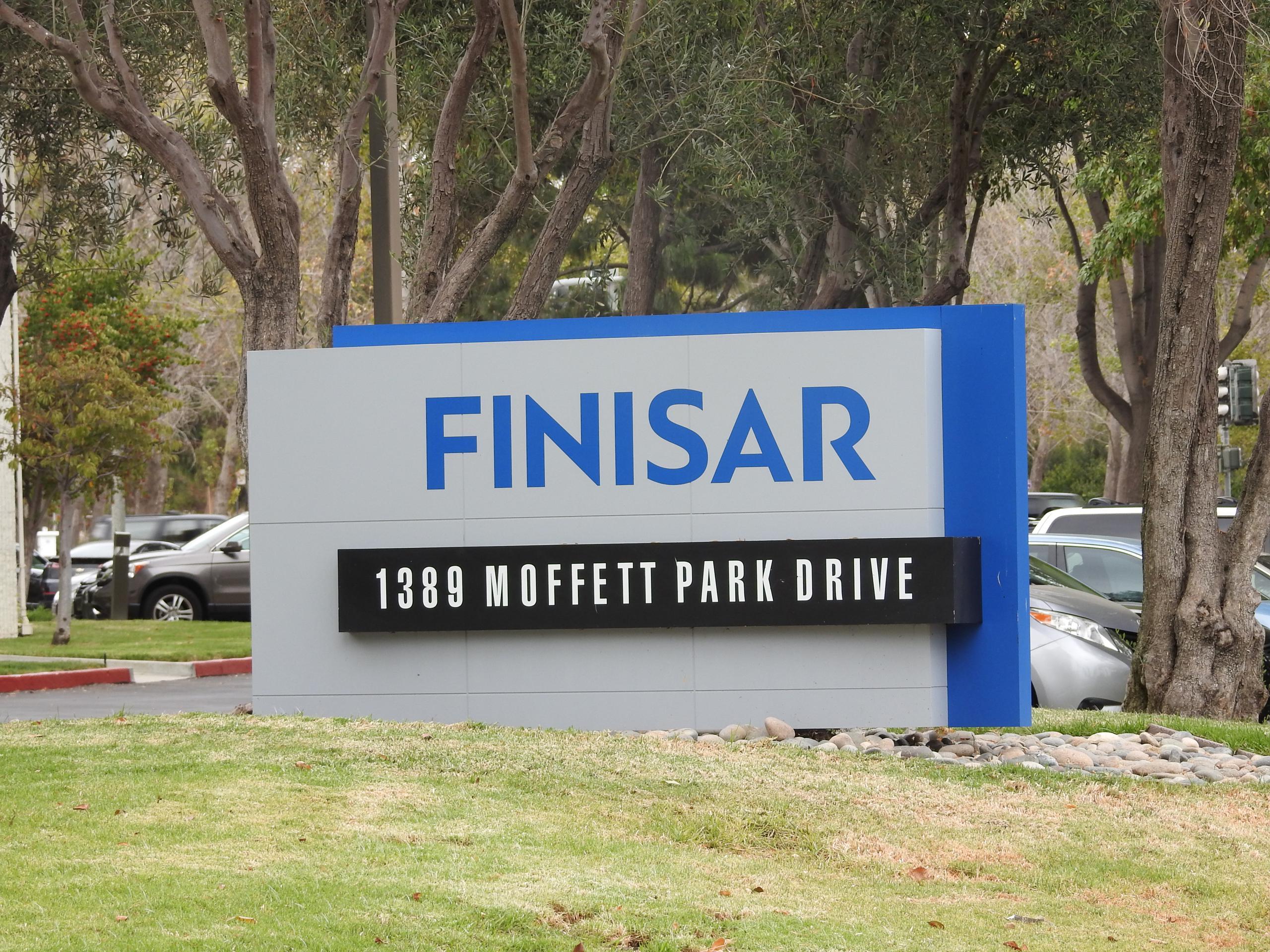 Entrance to Finisar's corporate headquarters in Sunnyvale, California.