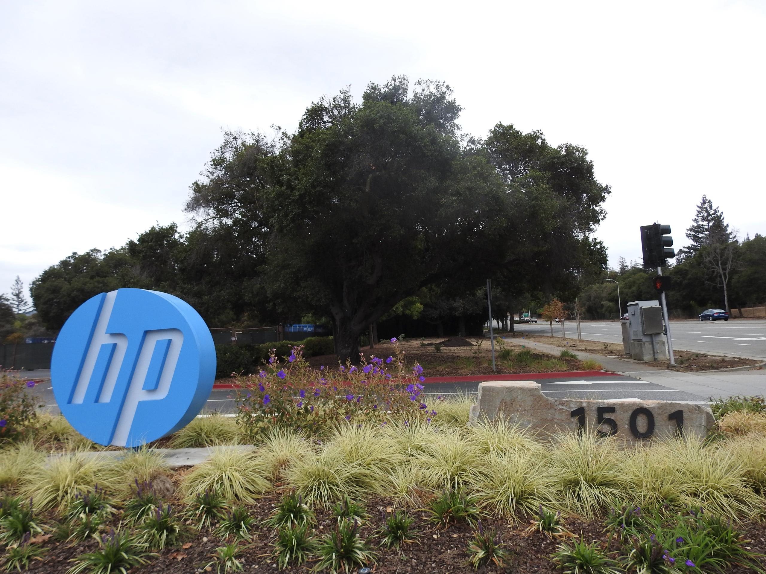 Entrance to HP's corporate headquarters in Palo Alto, California.