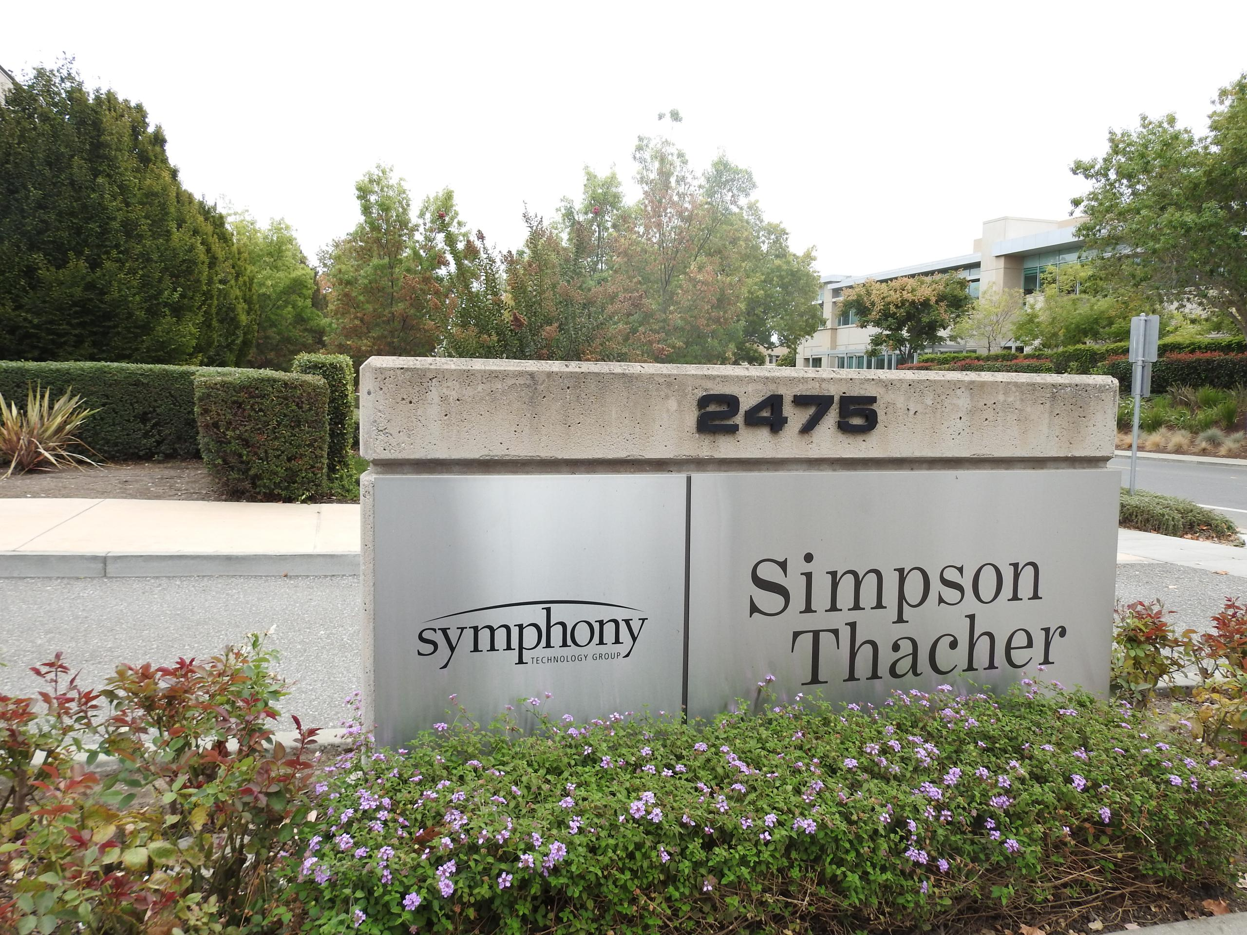 Entrance to Symphony Technology Group's headquarters in Palo Alto, California.