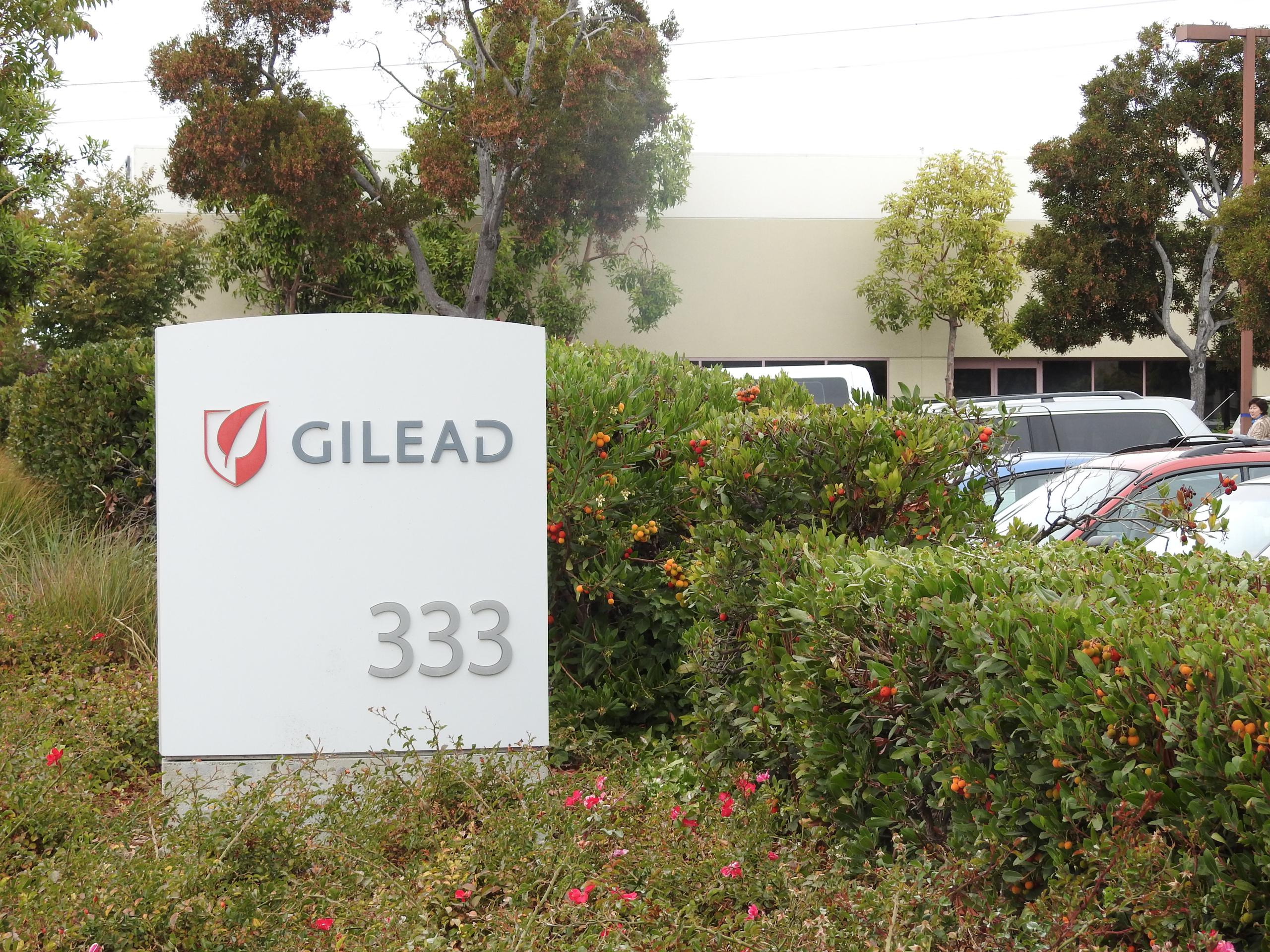 Entrance to Gilead Sciences' corporate headquarters in Foster City, California.