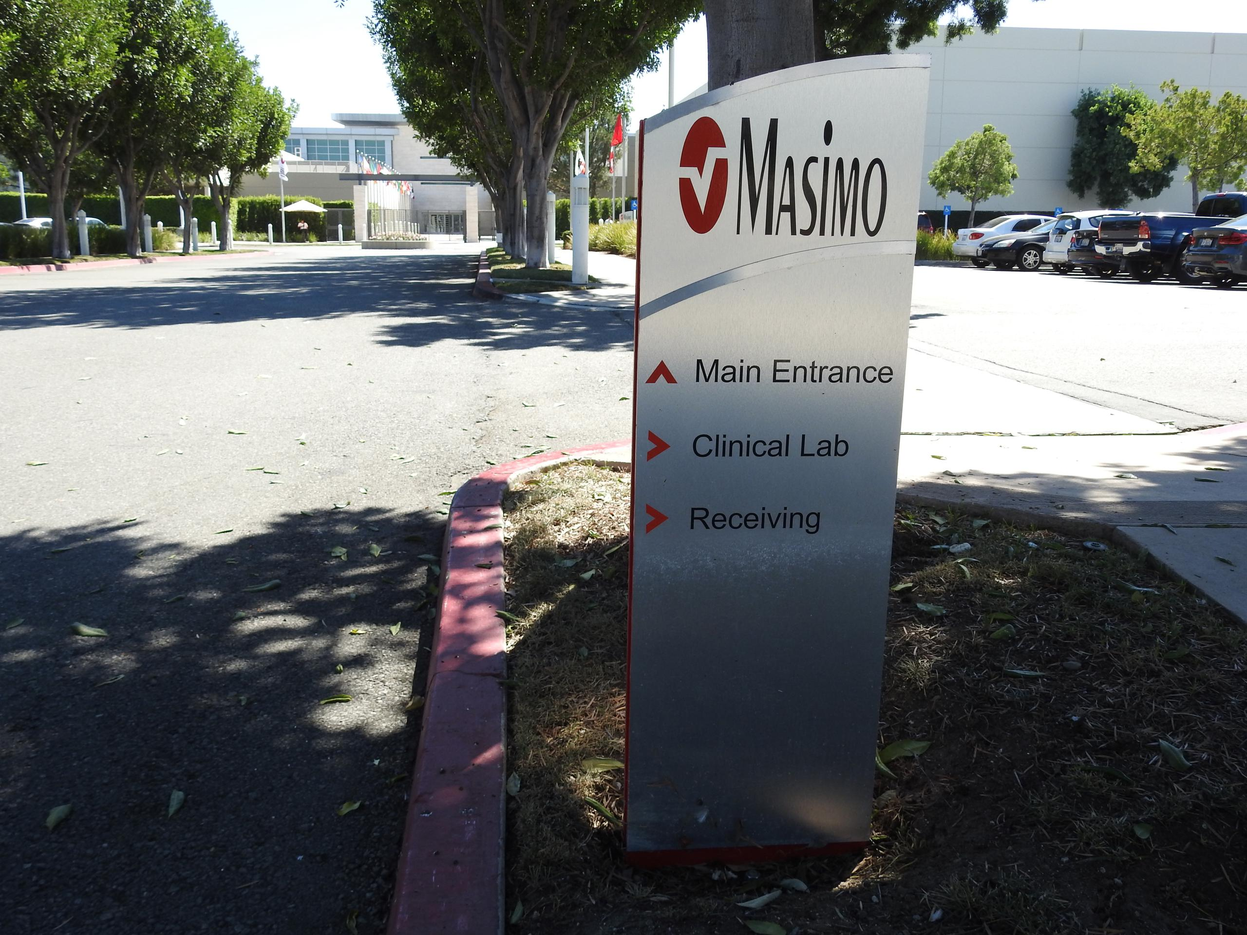 Entrance to Masimo's corporate headquarters in Irvine, California.