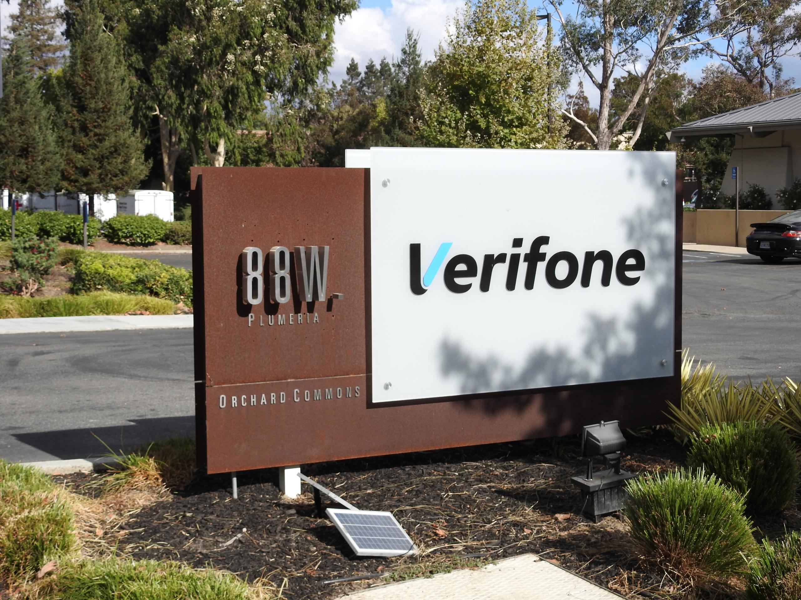 Entrance to VeriFone's corporate headquarters in San Jose, California.