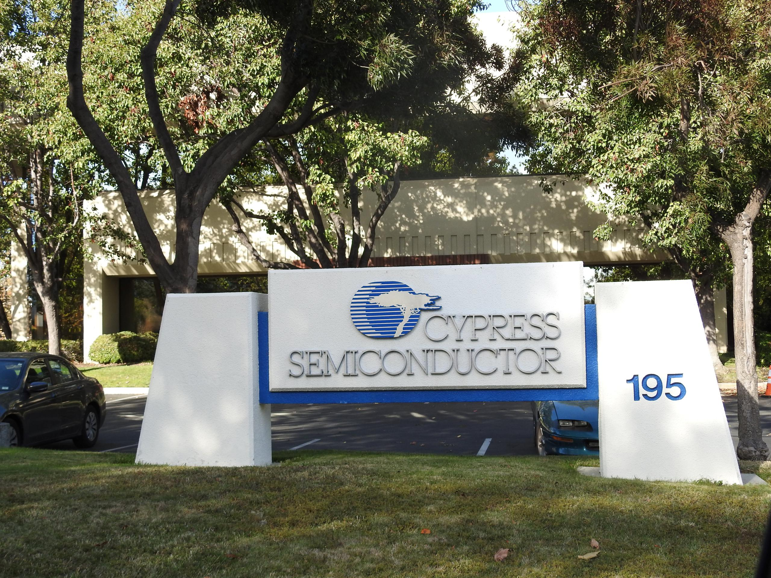Entrance to Cypress Semiconductor's corporate headquarters in San Jose, California.