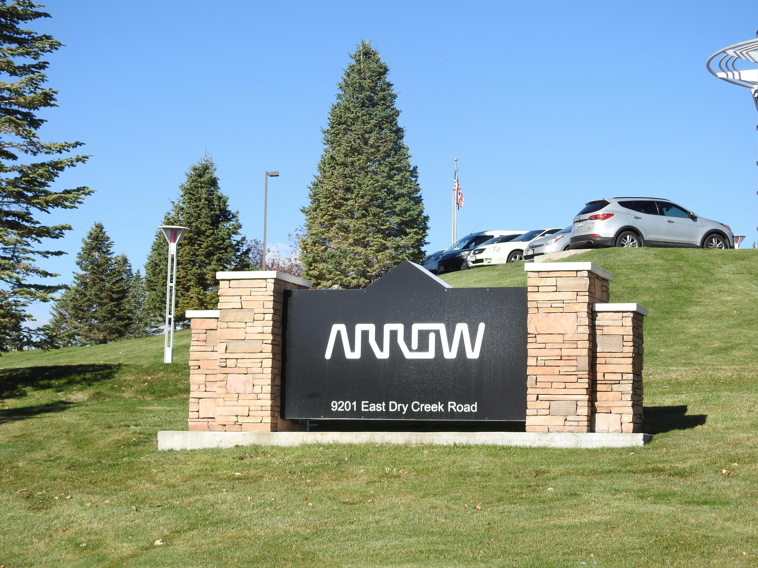 Entrance to Arrow Electronics' corporate headquarters in Centennial, Colorado.