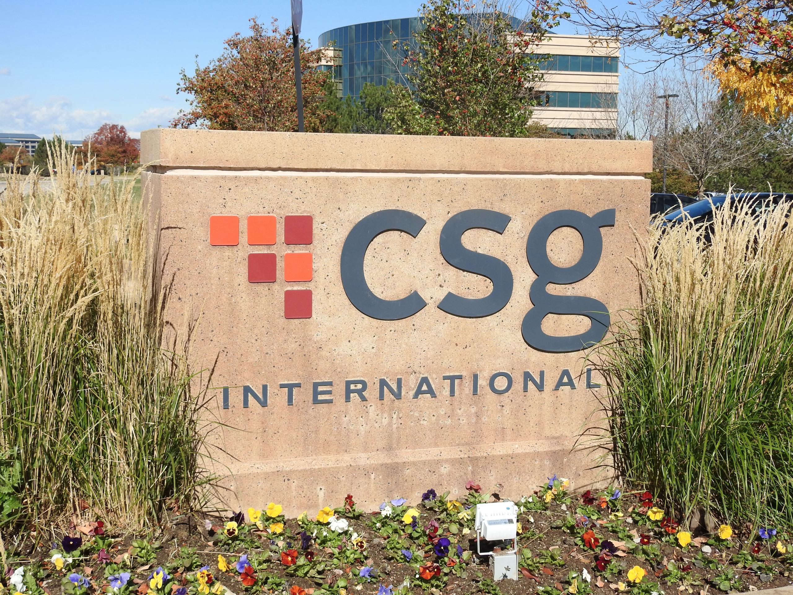 Entrance to CSG Systems International's corporate headquarters in Englewood, Colorado.