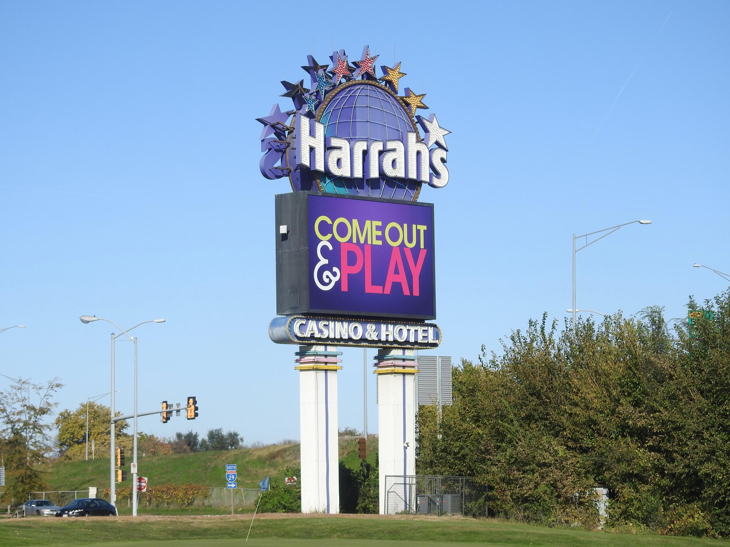 Signage for a Harrah's casino in Council Bluffs, Iowa.