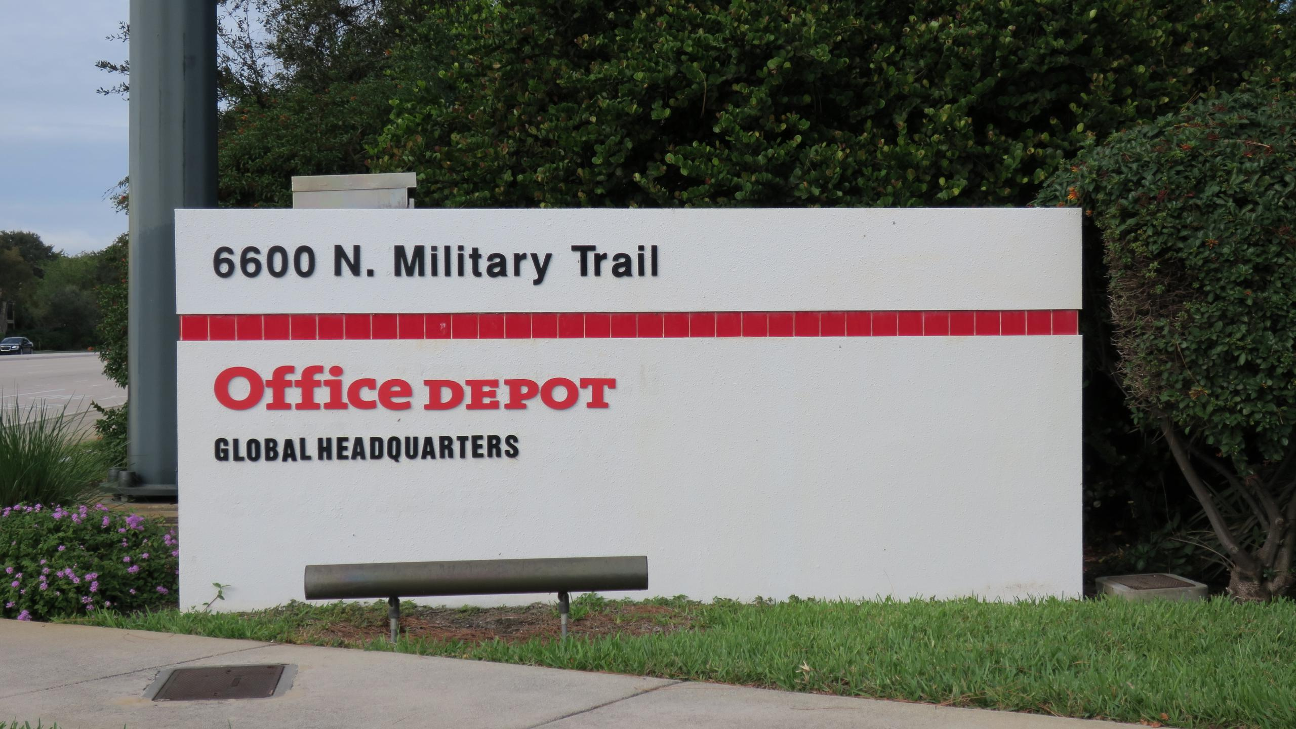 Entrance to Office Depot's corporate headquarters in Boca Raton, Florida.