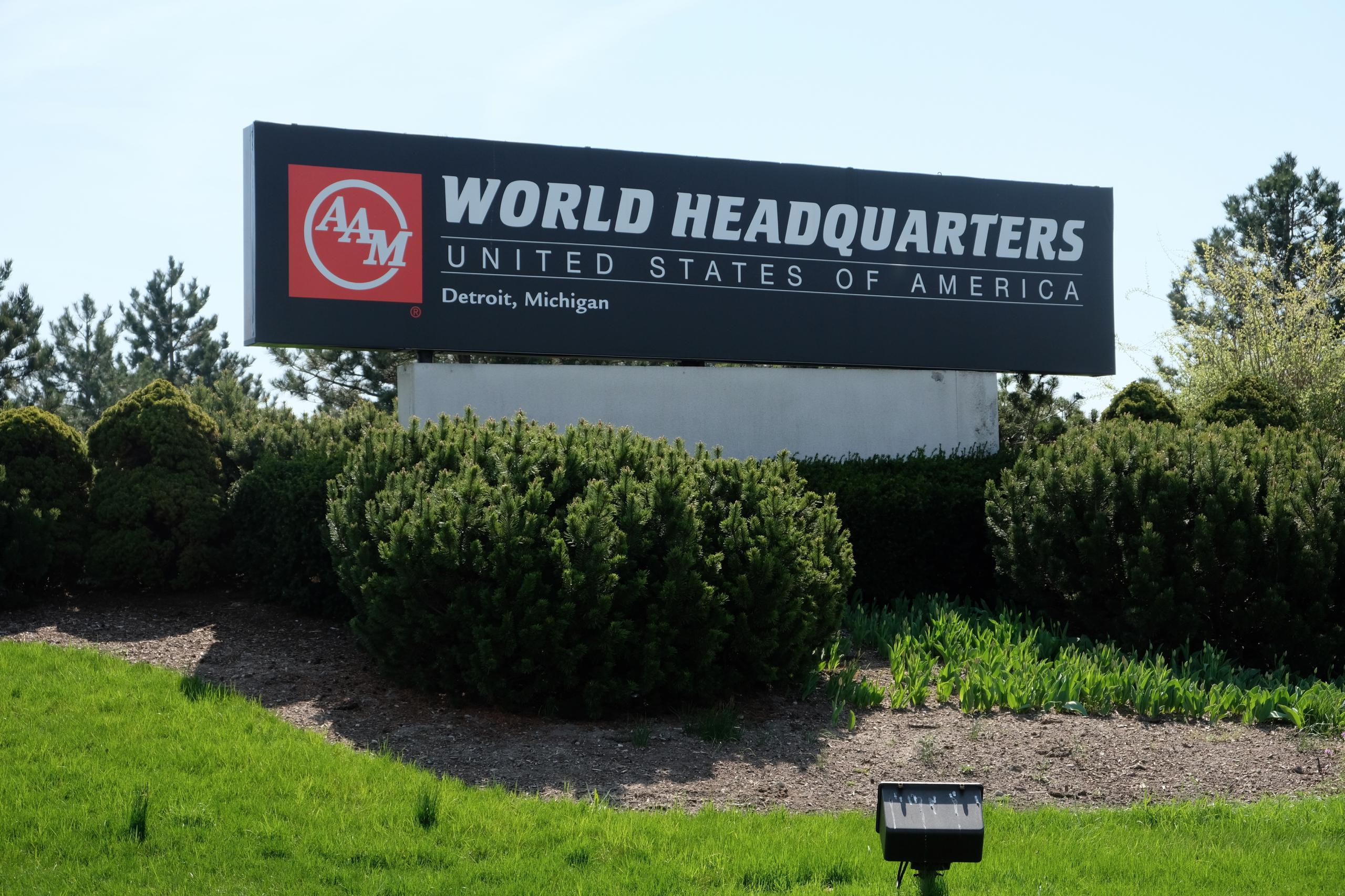 Entrance to American Axle & Manufacturing's corporate headquarters in Detroit, Michigan.