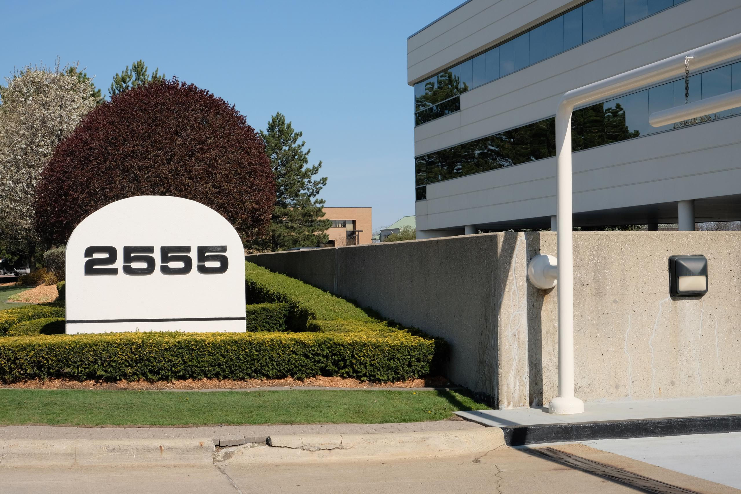 Entrance to Penske Automotive Group's headquarters in Bloomfield Hills, Michigan.